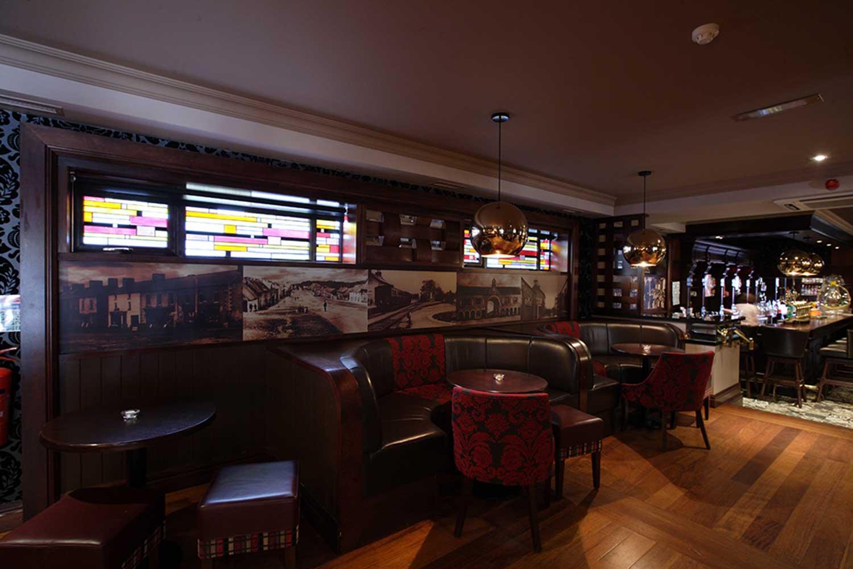 Malone's Irish Pub design - interior seating