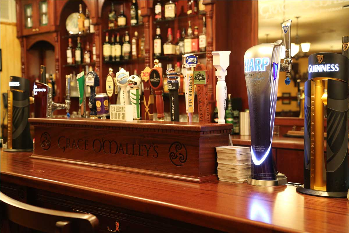 Grace O'Malley's authentic Irish bar design by Guinness designers