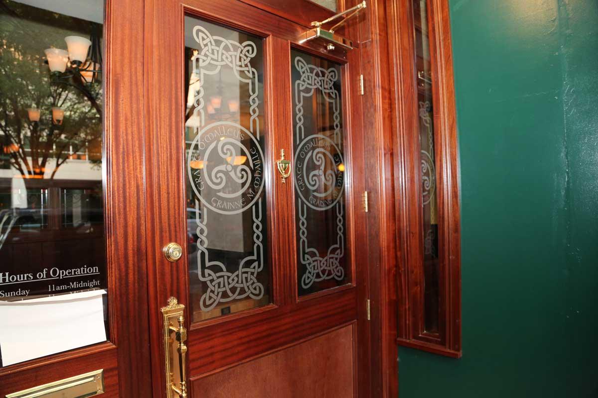 Grace O'Malley's authentic Irish pub doors with celtic decoration