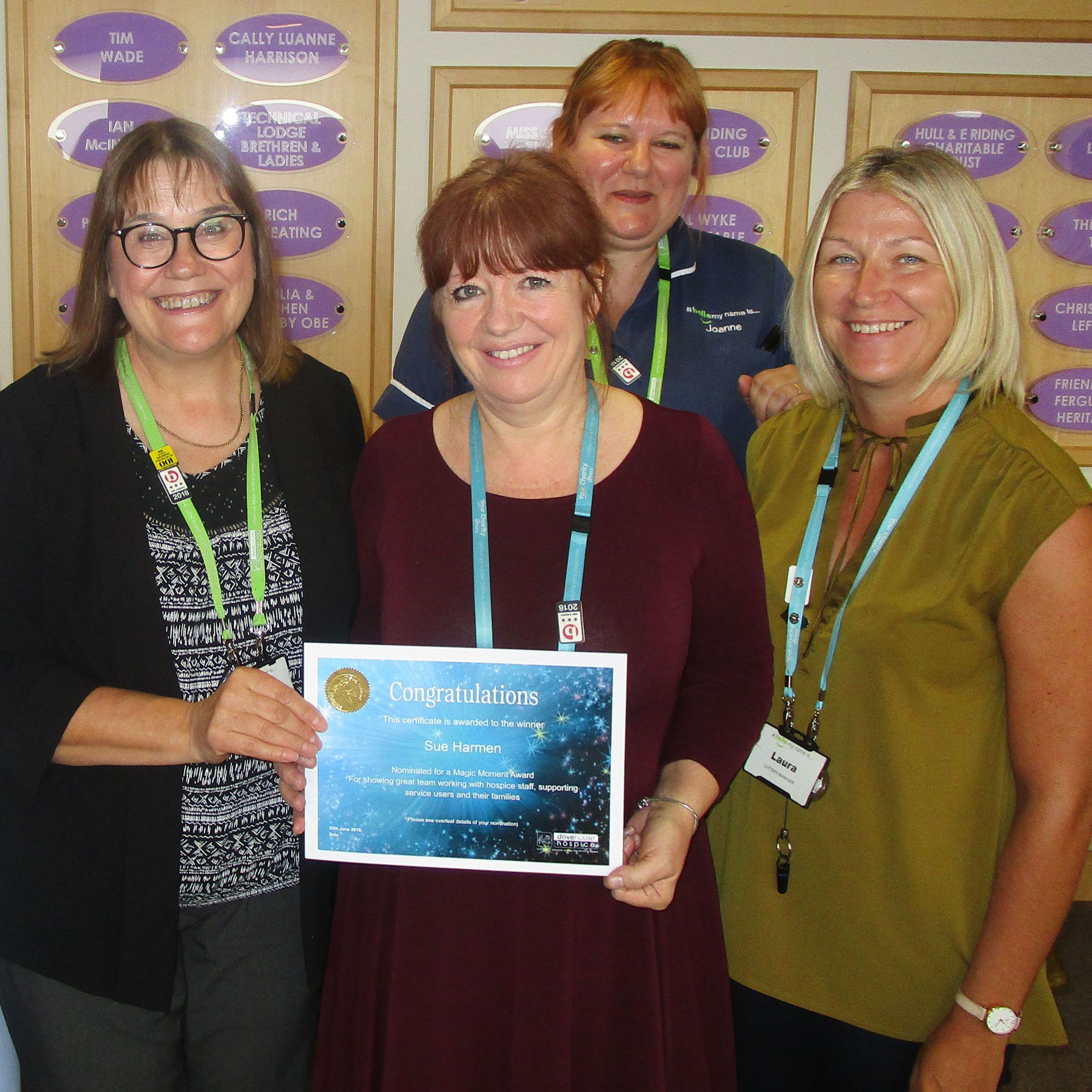 Sue received her certificate from Dove House Chief Executive , Anna Wolkowski