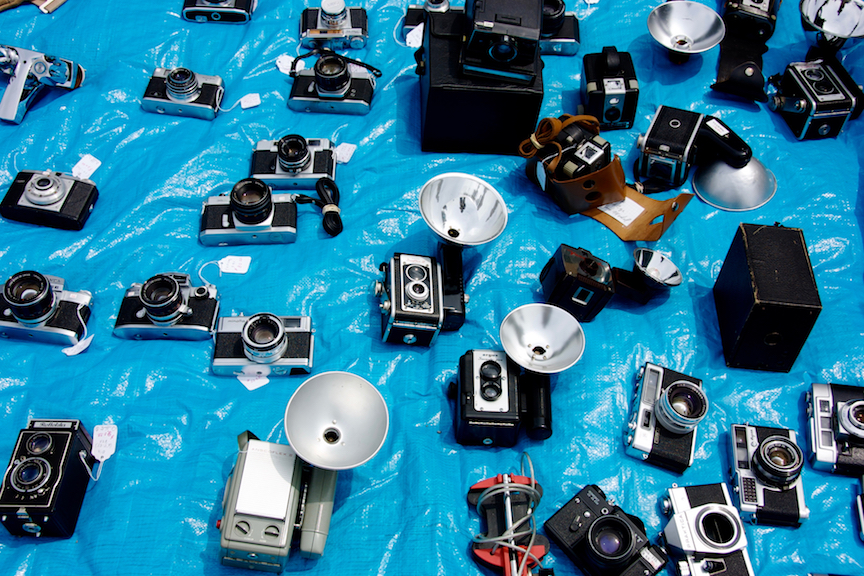 Cameras on tarp at Flea Market - 1 copy 2.jpg