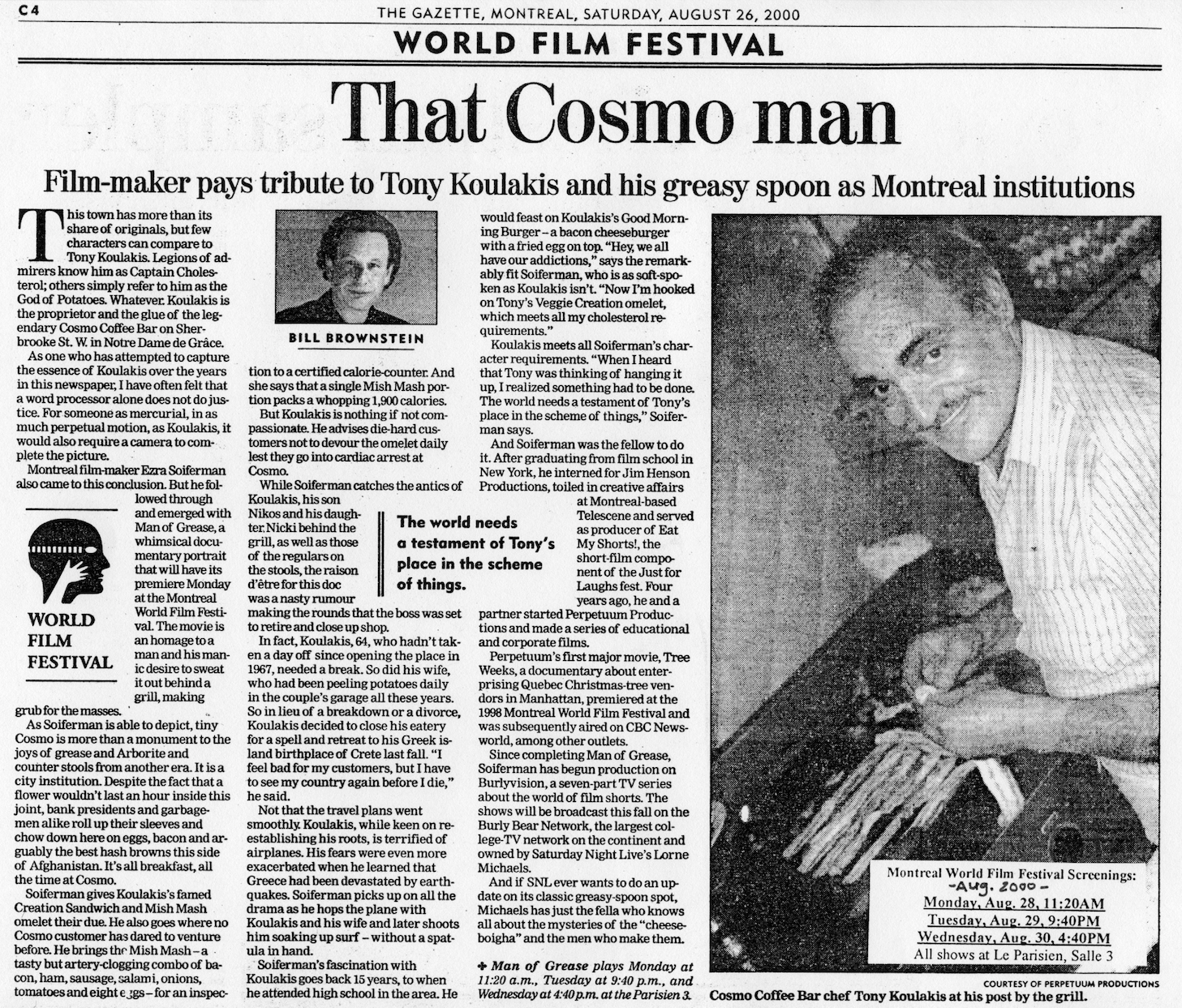 """""""Man of Grease"""", documentary - Montreal Gazette, 2000"""