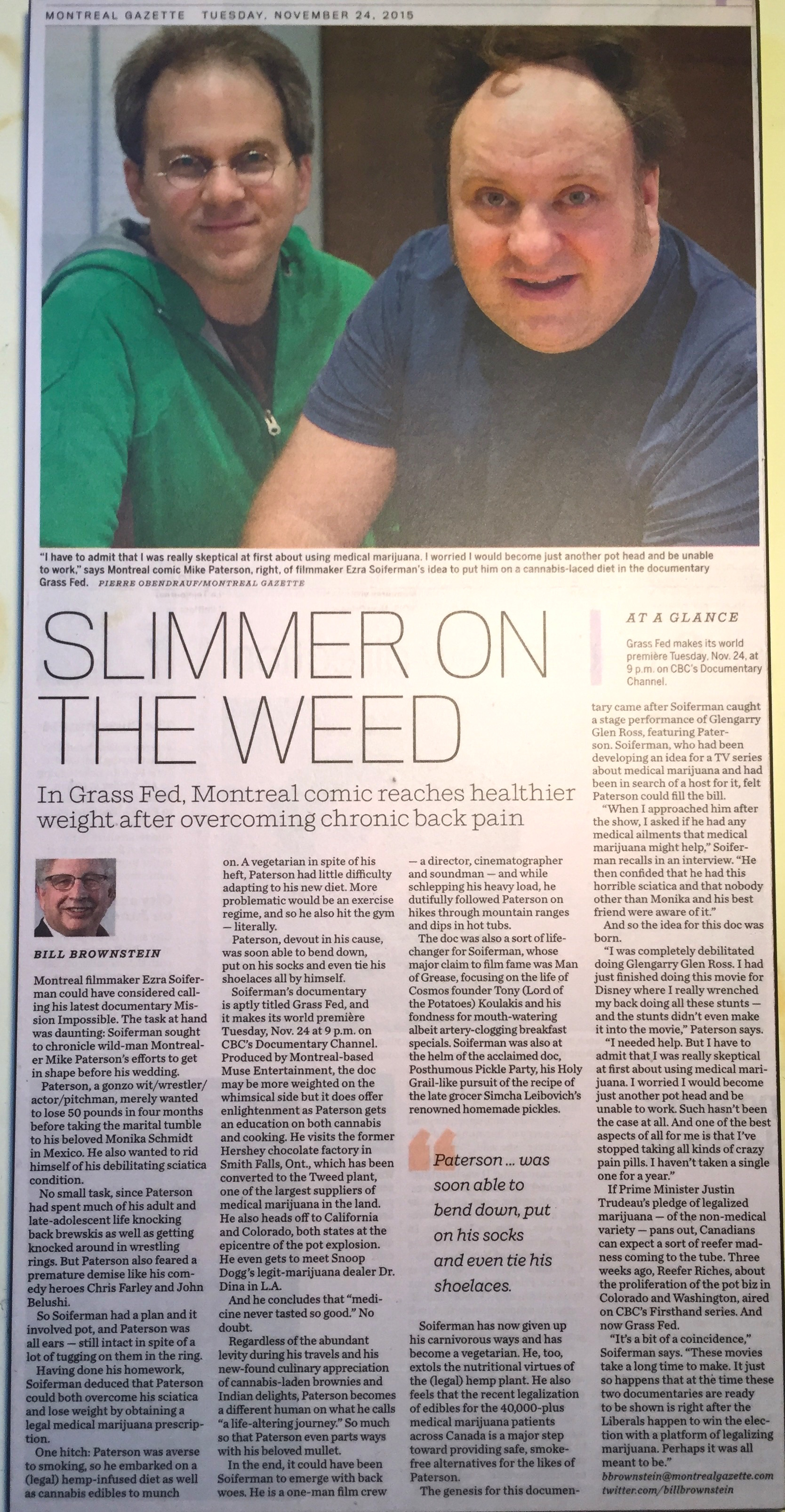 """""""Grass Fed"""", feature documentary - Montreal Gazette, 2015"""