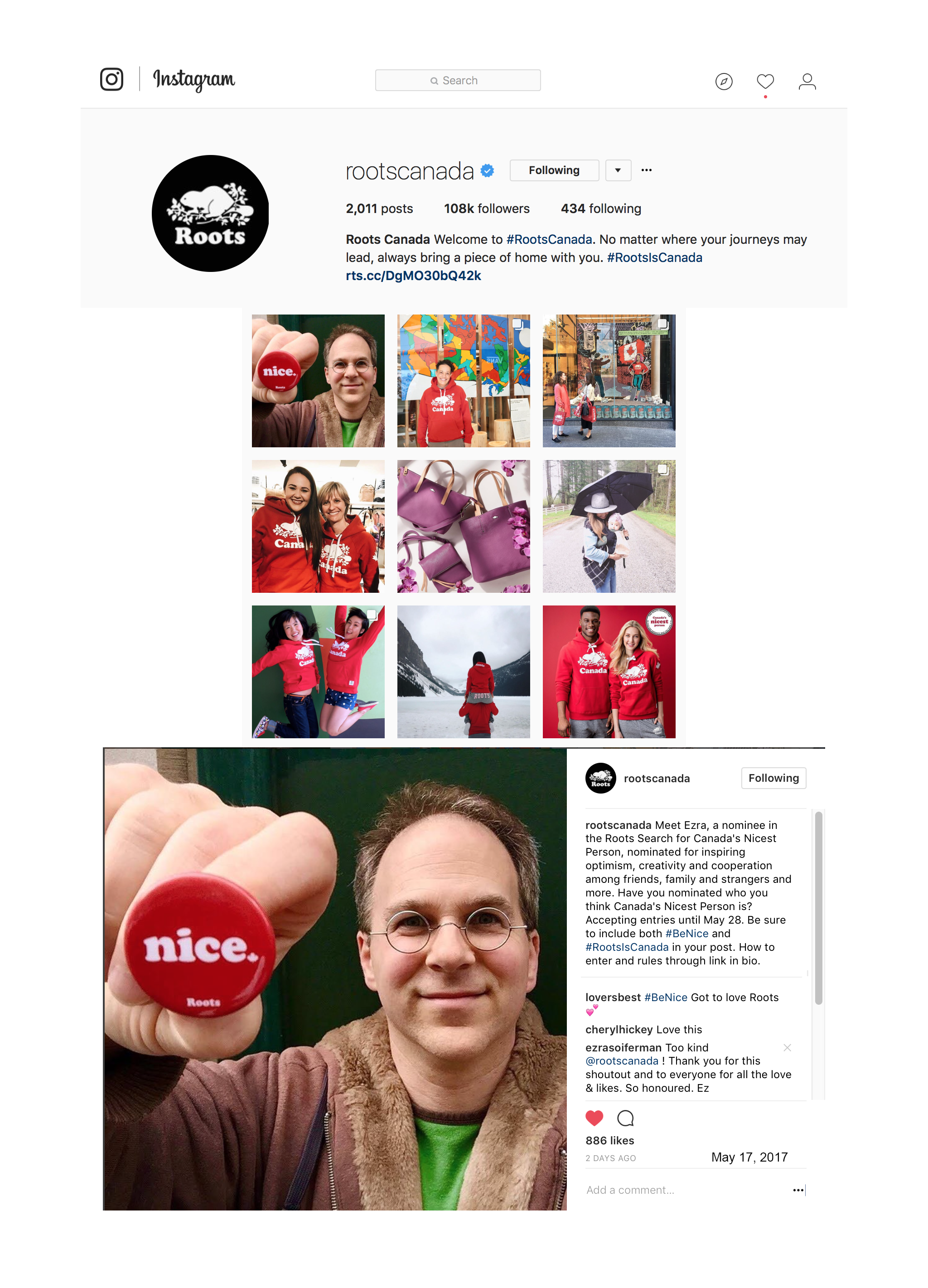 """Nominee in Roots Canada's """" Canada's Nicest Person """" - Very first of 275+ nominees to be featured on Roots' Instagram page."""