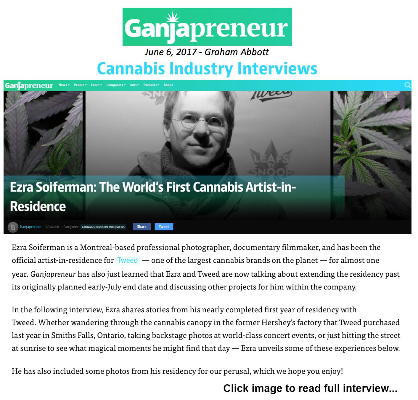 Tweed Artist-in-Residence profile, interview and photo spread, Ganjapreneur.com, 2017