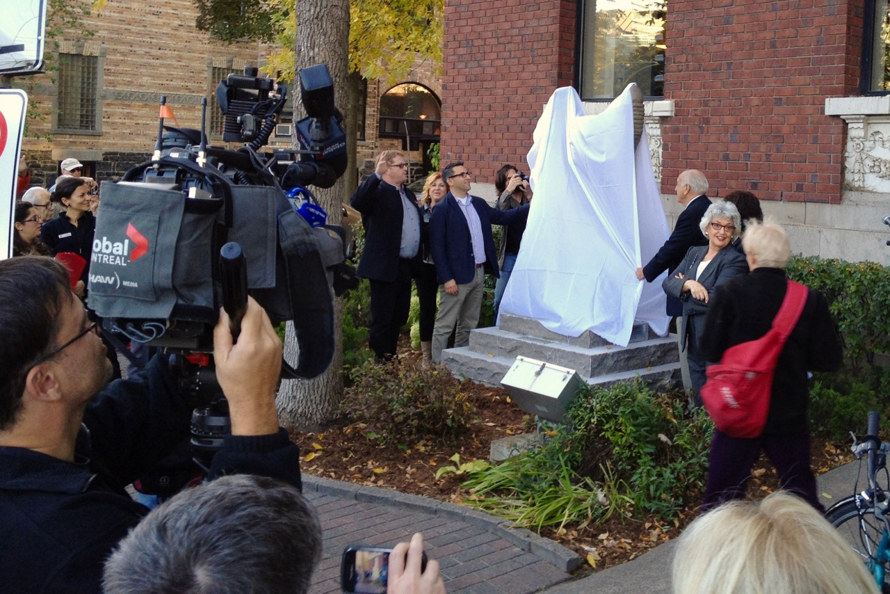 "Unveiling of ""Eternal Youth"" at the Westmount Y in 2013."