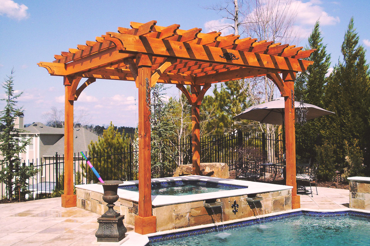 poolside hot tub pergola