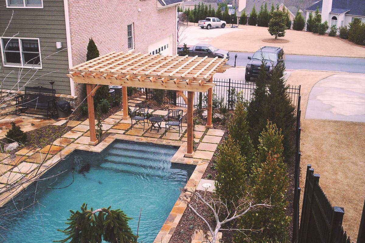 pool entrance pergola