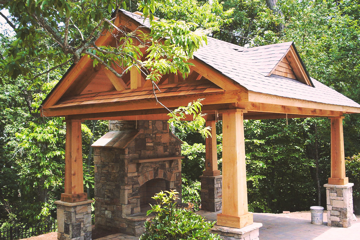 outdoor fireplace pavilion