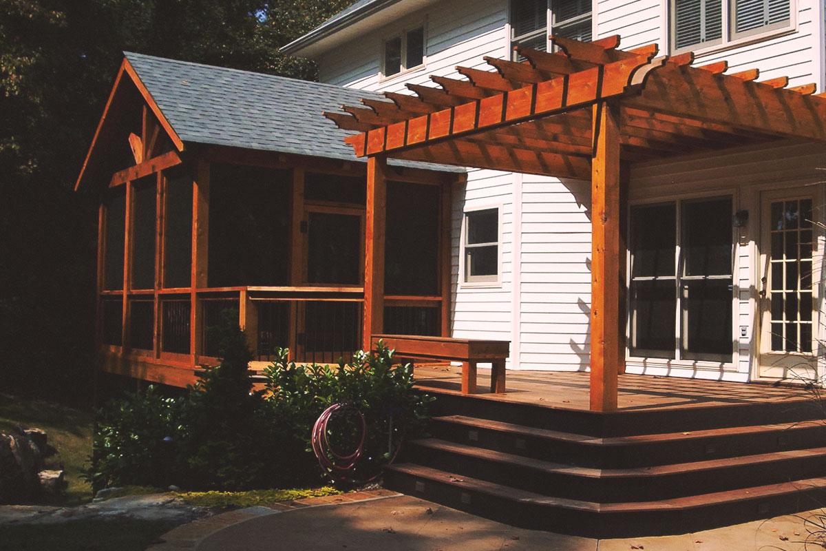 screened porch + attached pergola