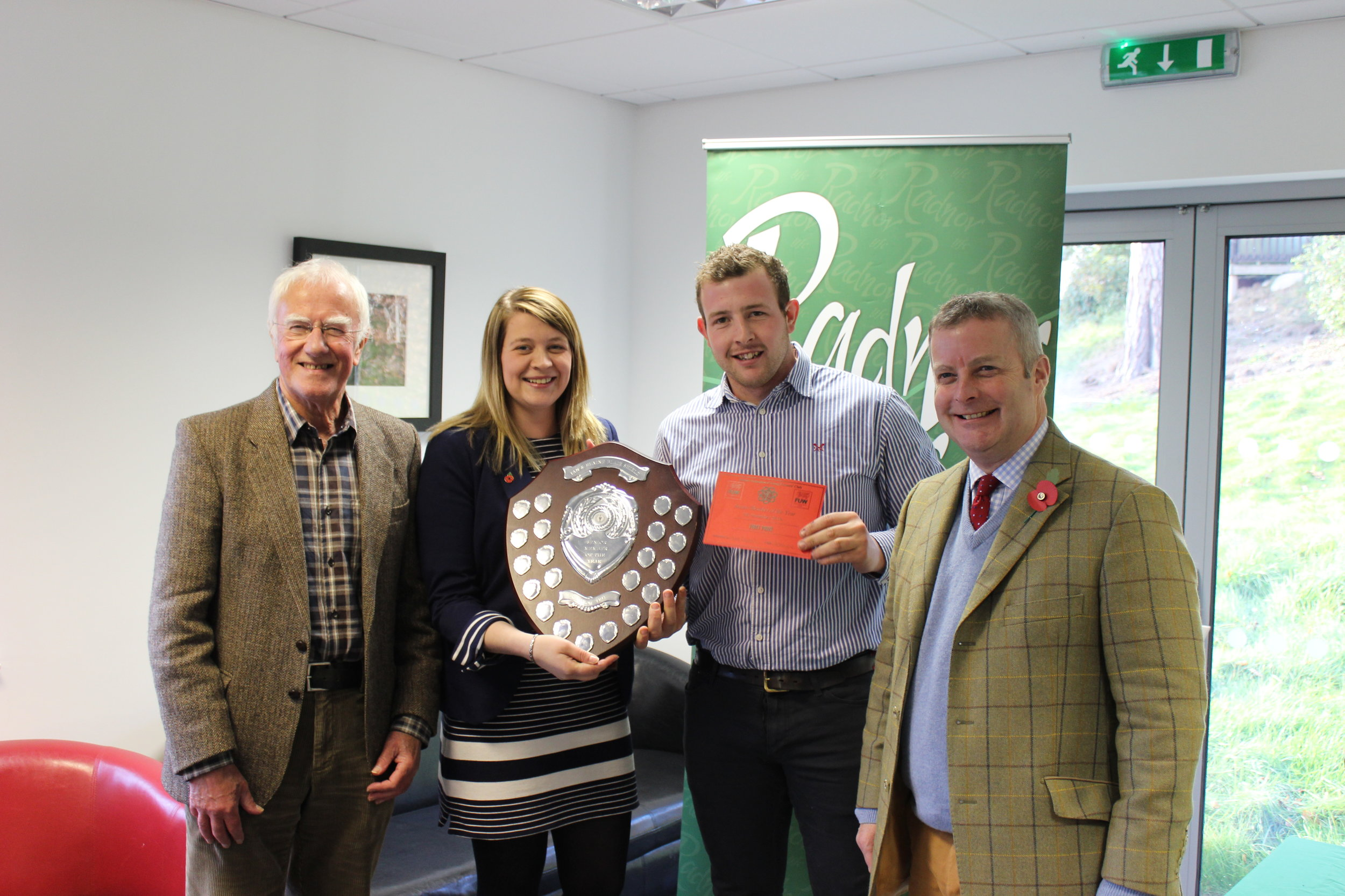 Owen Davies, Presteigne YFC with judges Ian Blair, Fay Thomas & Chris Davies MP