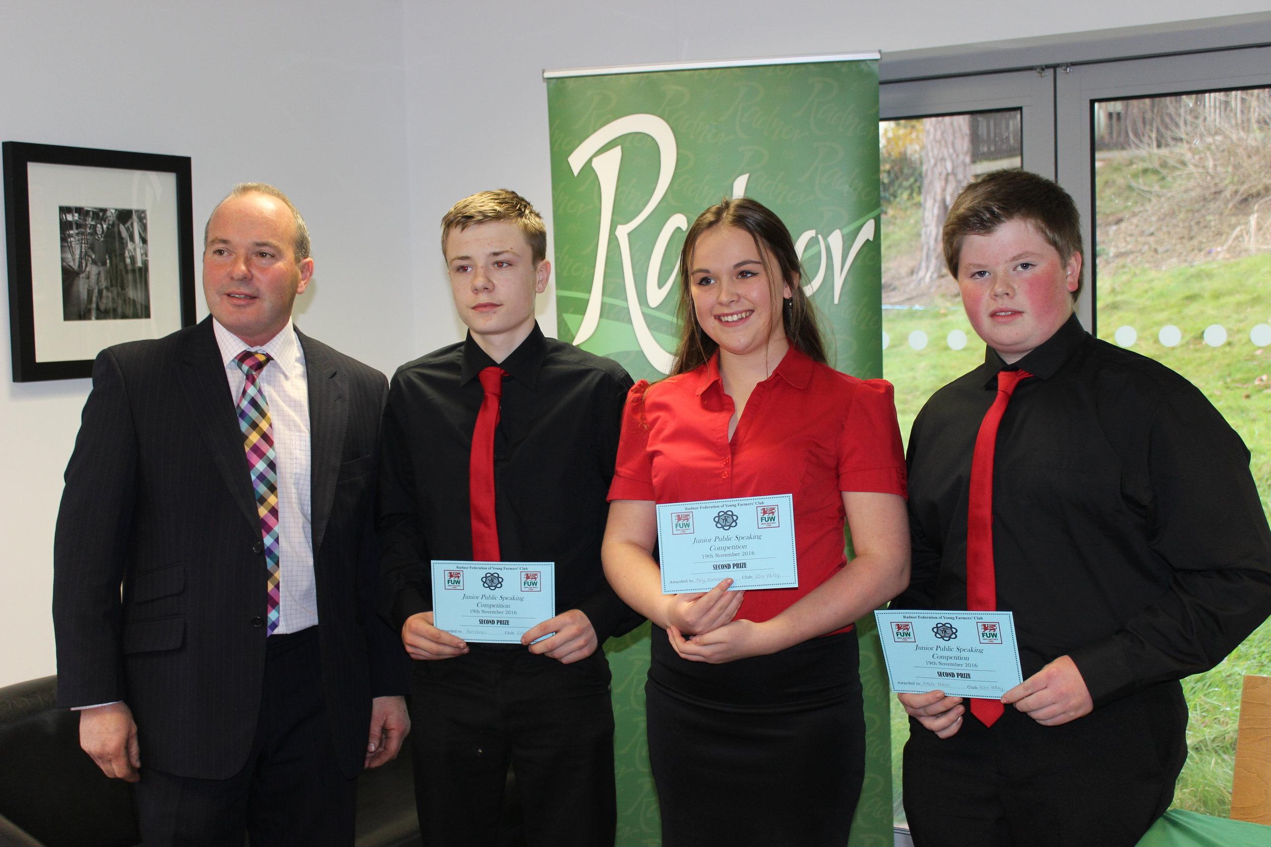 2nd Place in Junior Public Speaking, Ben Davies, Amy Hammonds & Mark Nixon, Edw Valley YFC.