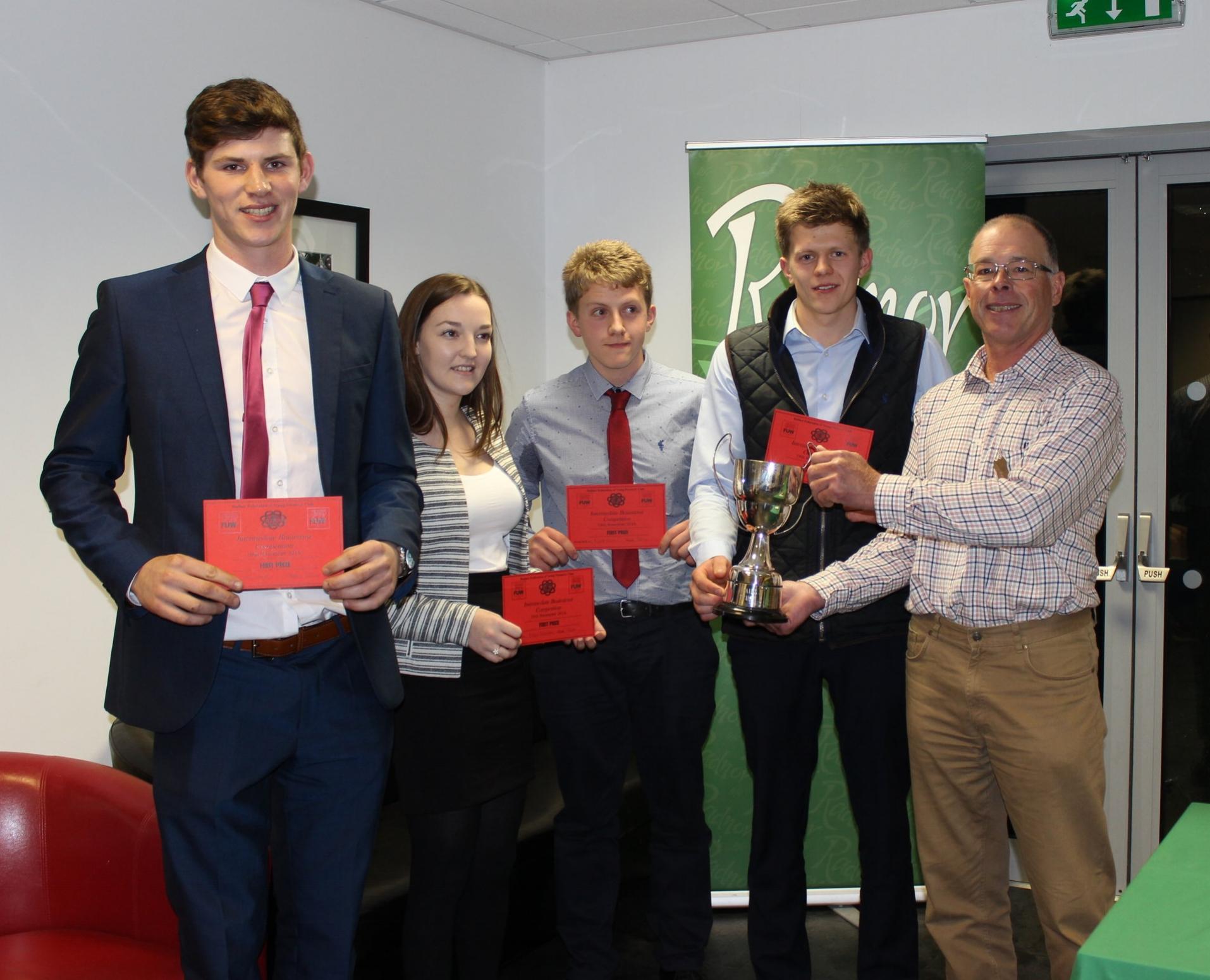 1st in the Intermediate Brainstrust Will Lewis, Rhian Griffiths, Rupert Owen & Ben Owen with Judge Mr Ifor Humpreys.