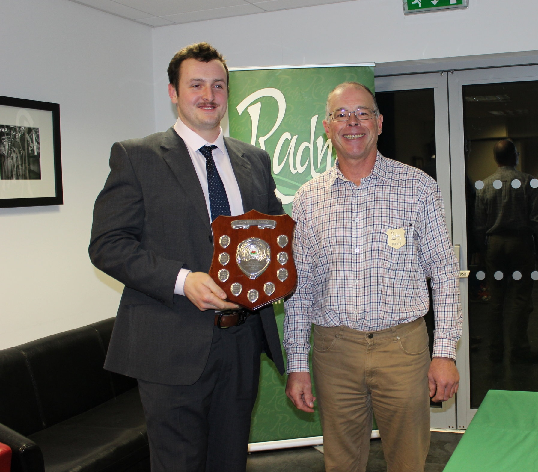 Ted Davies, Presteigne YFC won the Agridata Intermediate Individual Cup and was presented by Judge Mr Ifor Humpreys.