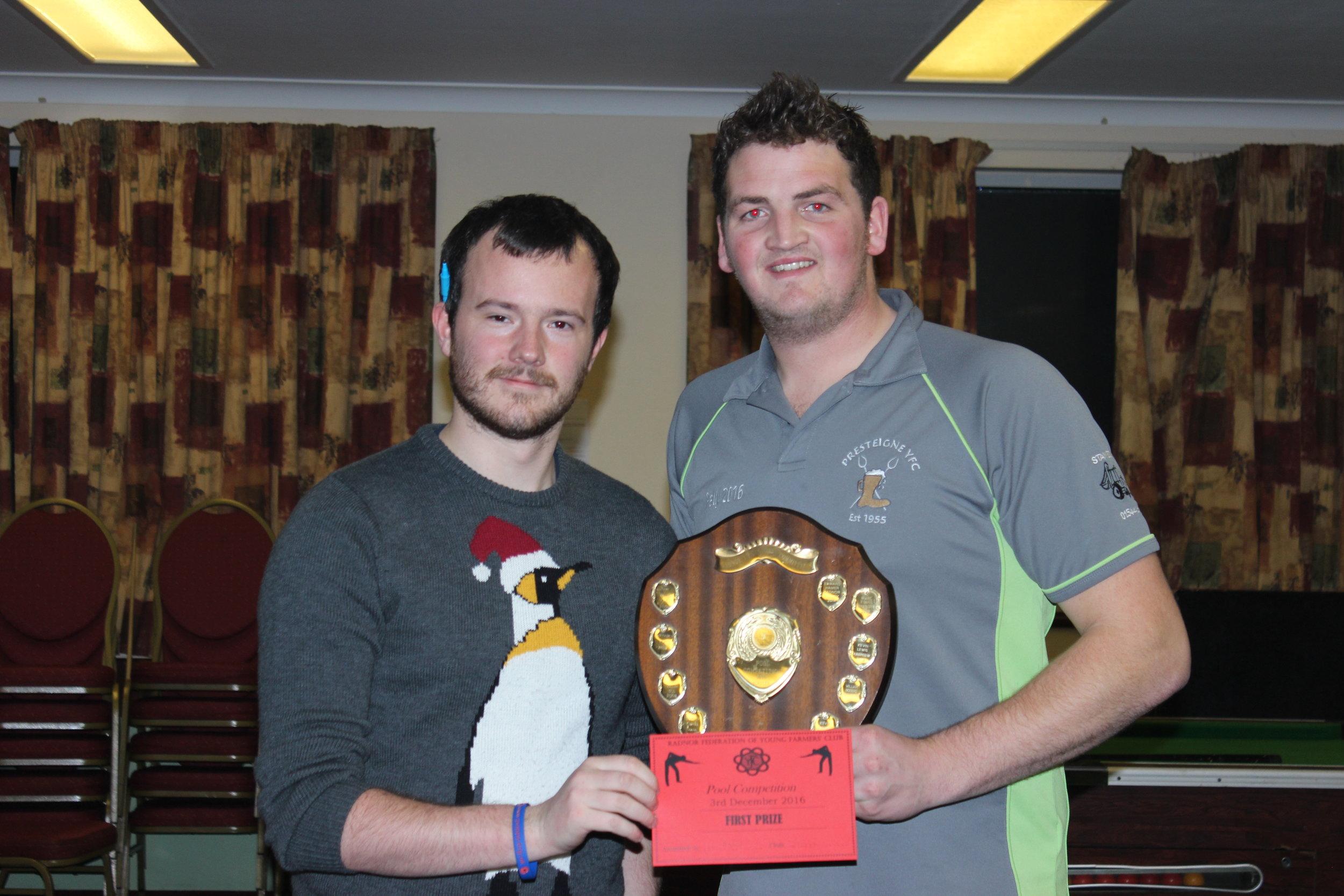 Boys Singles Winner Jordan Pritchard, Presteigne YFC with S&F Chairman Tom Simmons