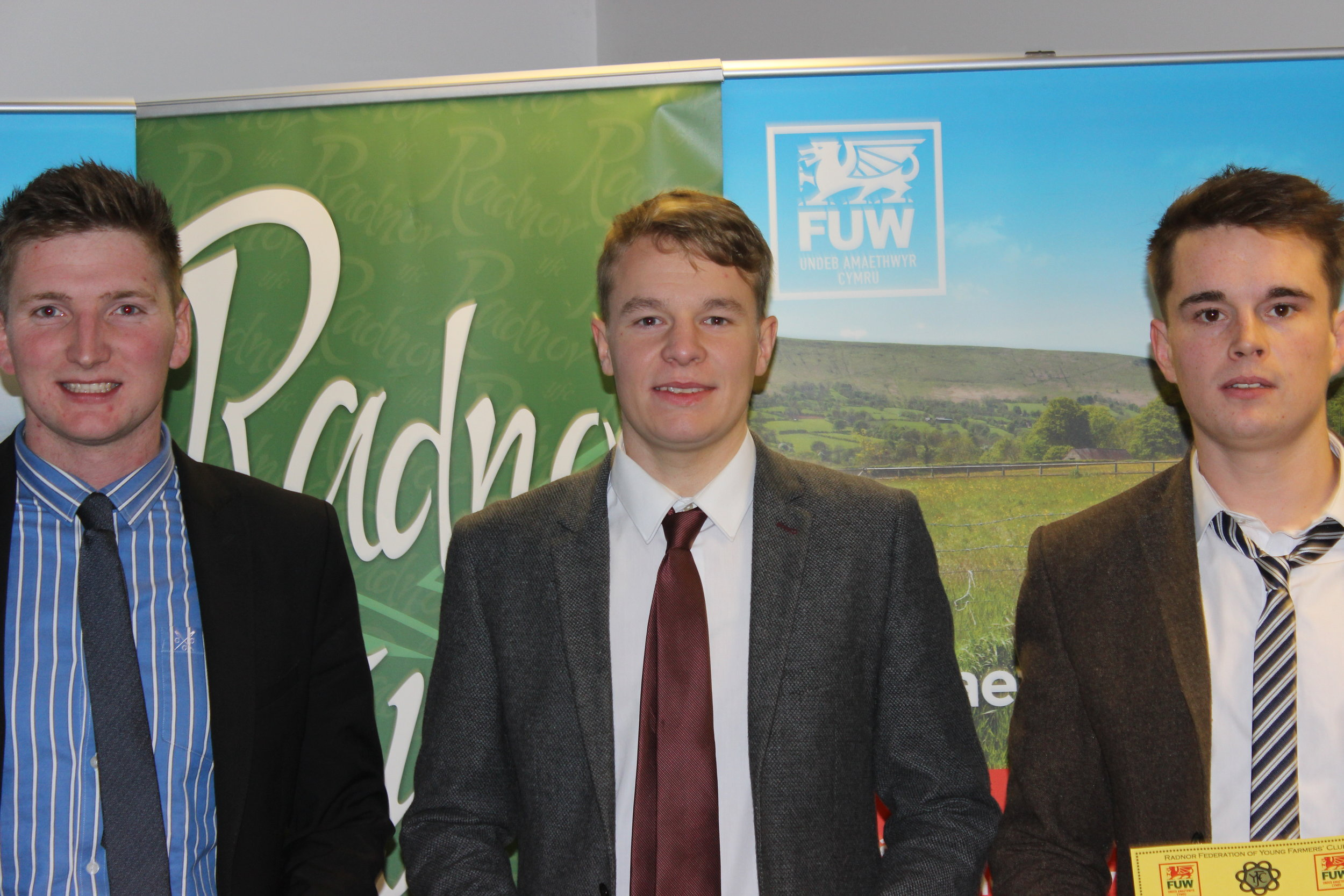 Robbie Savage, Elliot Morris & Edward Hamer, Radnor Valley YFC coming third in the Senior Debate competition.
