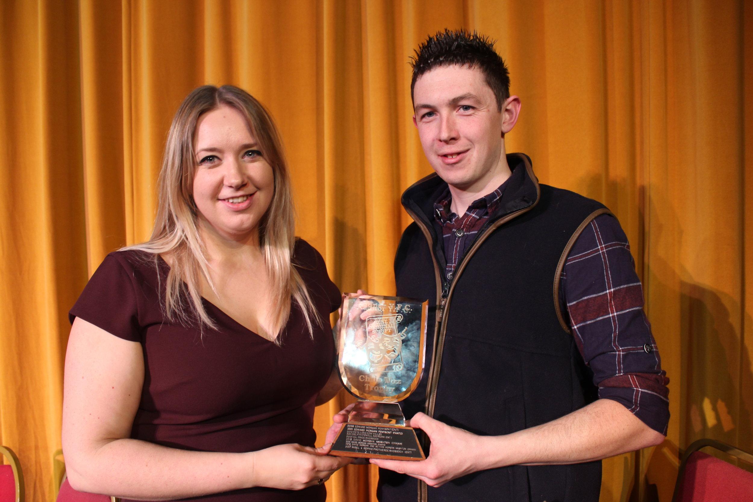 Gemma Bufton & Ben Hardwick, Dolau YFC with the 'Chris Woz Trophy' for Best Original Script.