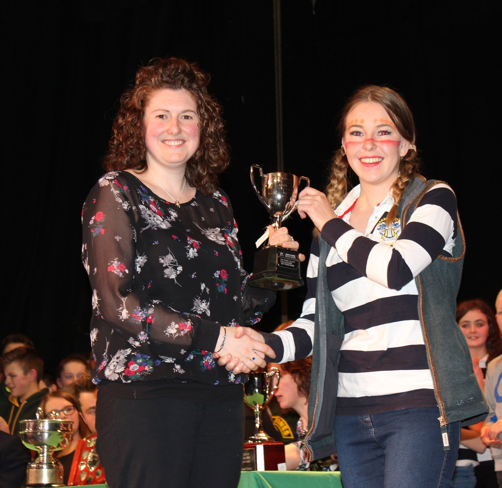 Chloe Jones, Edw Valley YFC with the 'Abbey Cwm Hir Hall Trophy' for Best Set being presented by Avril Hardwick, Barlcays