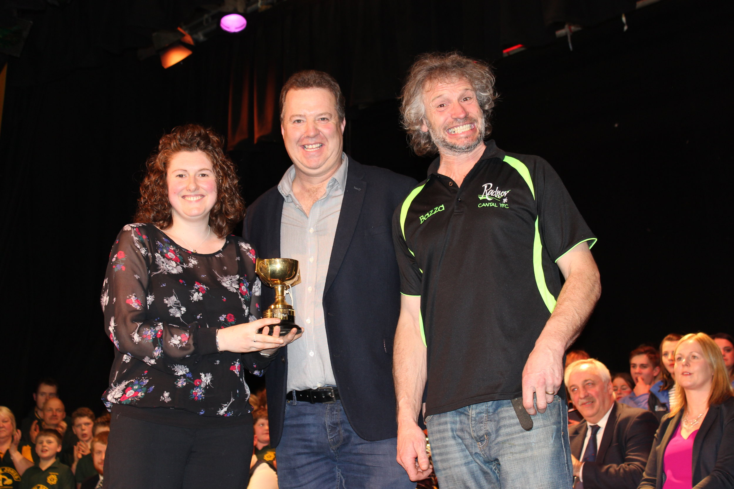 Gareth Rees & Barry Bevan, Cantal YFC being presented the 'Tom Hooson Cup' for highest placed small Club by Avril Hardwick, Barclays