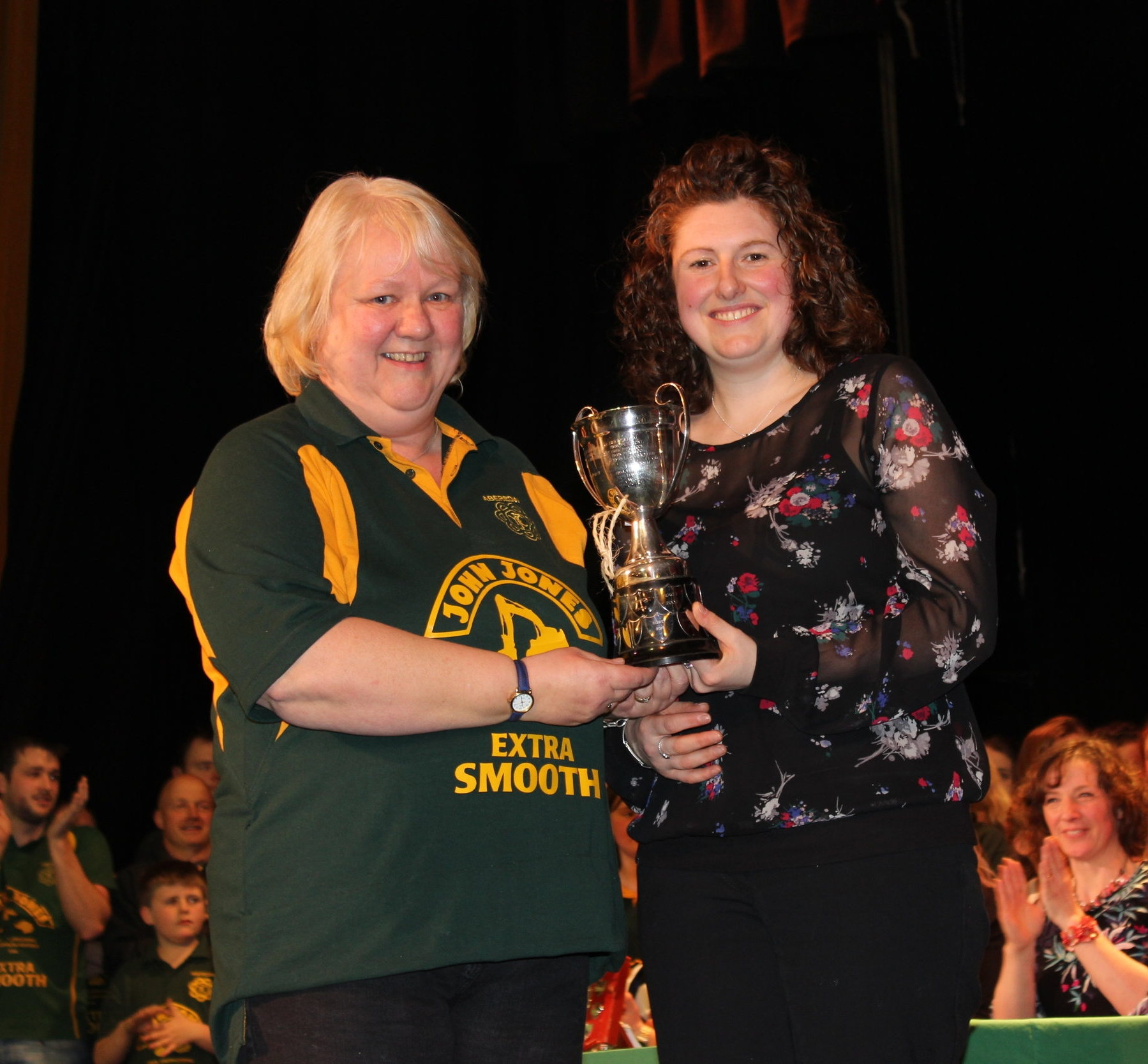 Michelle Morris, Aberedw YFC being presented with the 'Anna Golesworthy Cup' for 2nd placed Pantomime by Avril Hardwick, Barclays