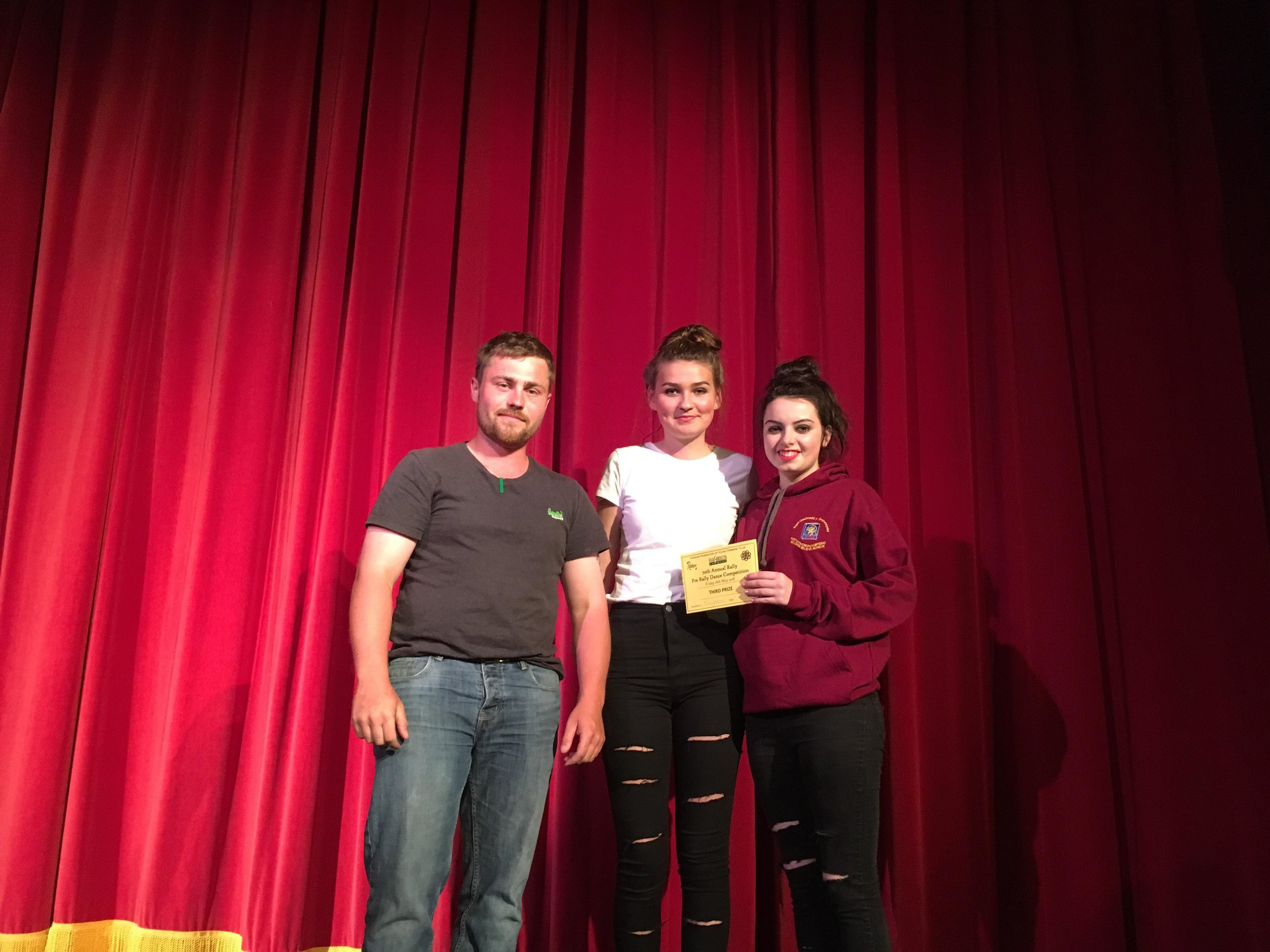 Knighton YFC coming 3rd place with James Poulton, County Vice Chairman
