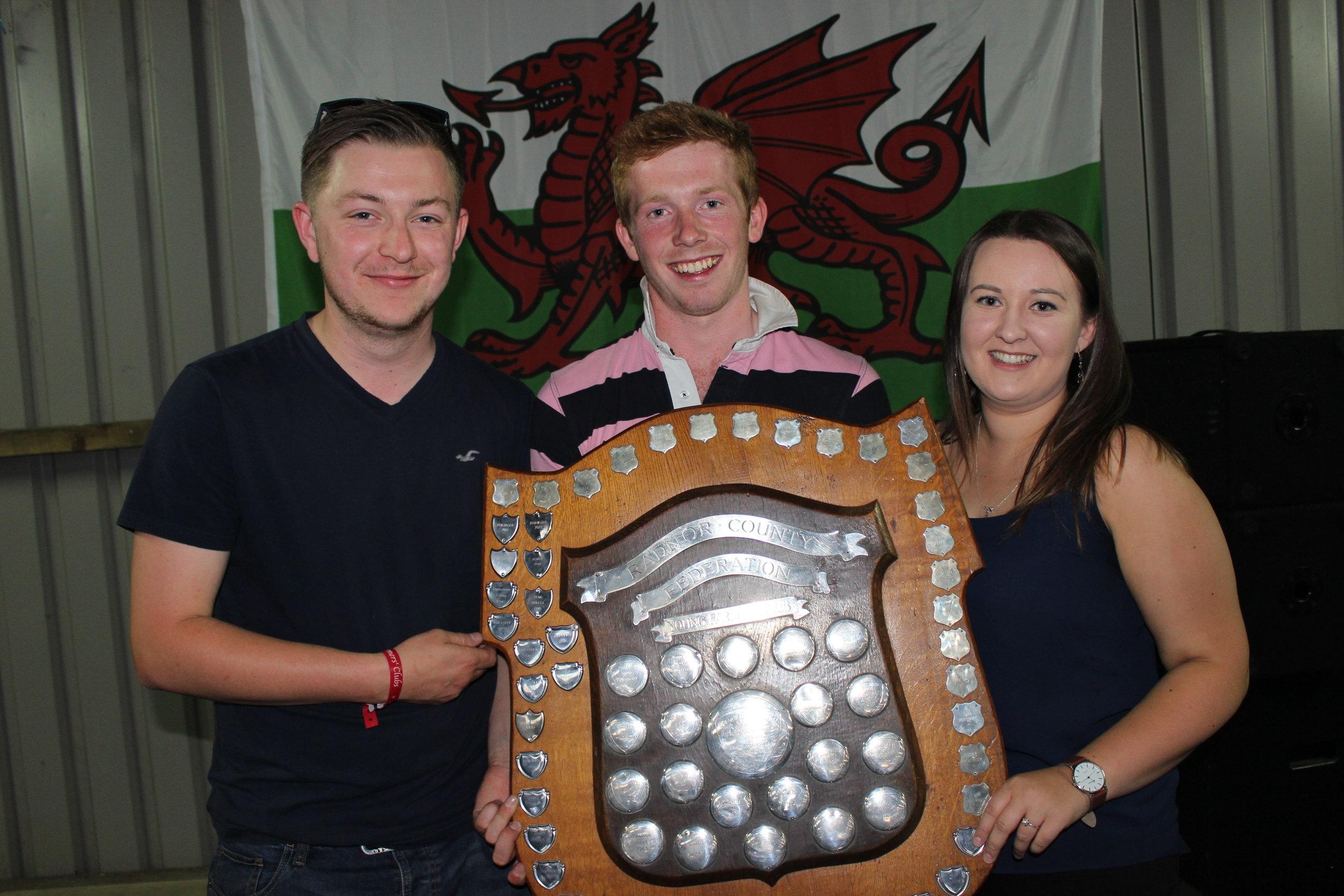 Ryan Evans, Vice Chairman, Lloyd Hammond, Chairman & Rhian Thomas, Secretary with the Overall Winning Shield on Rally Day.