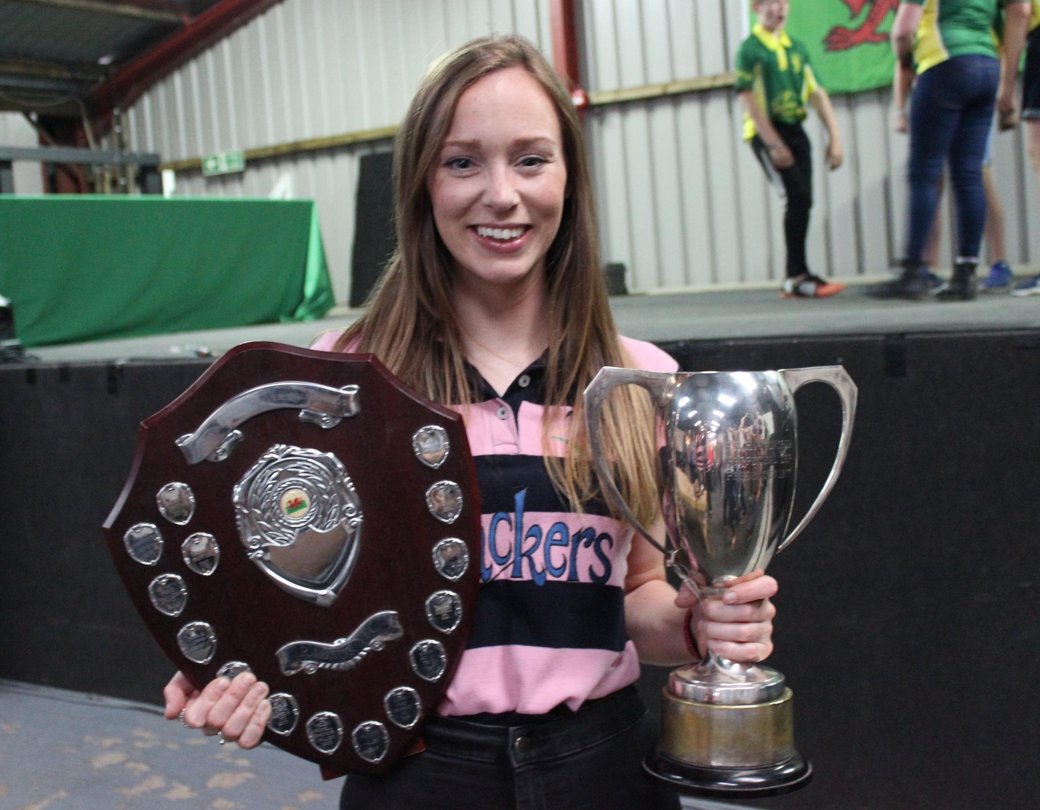 Rhian Hammond, Howey YFC with 'The PRH Tantrum Cup'& 'Caleb Robert Shield'