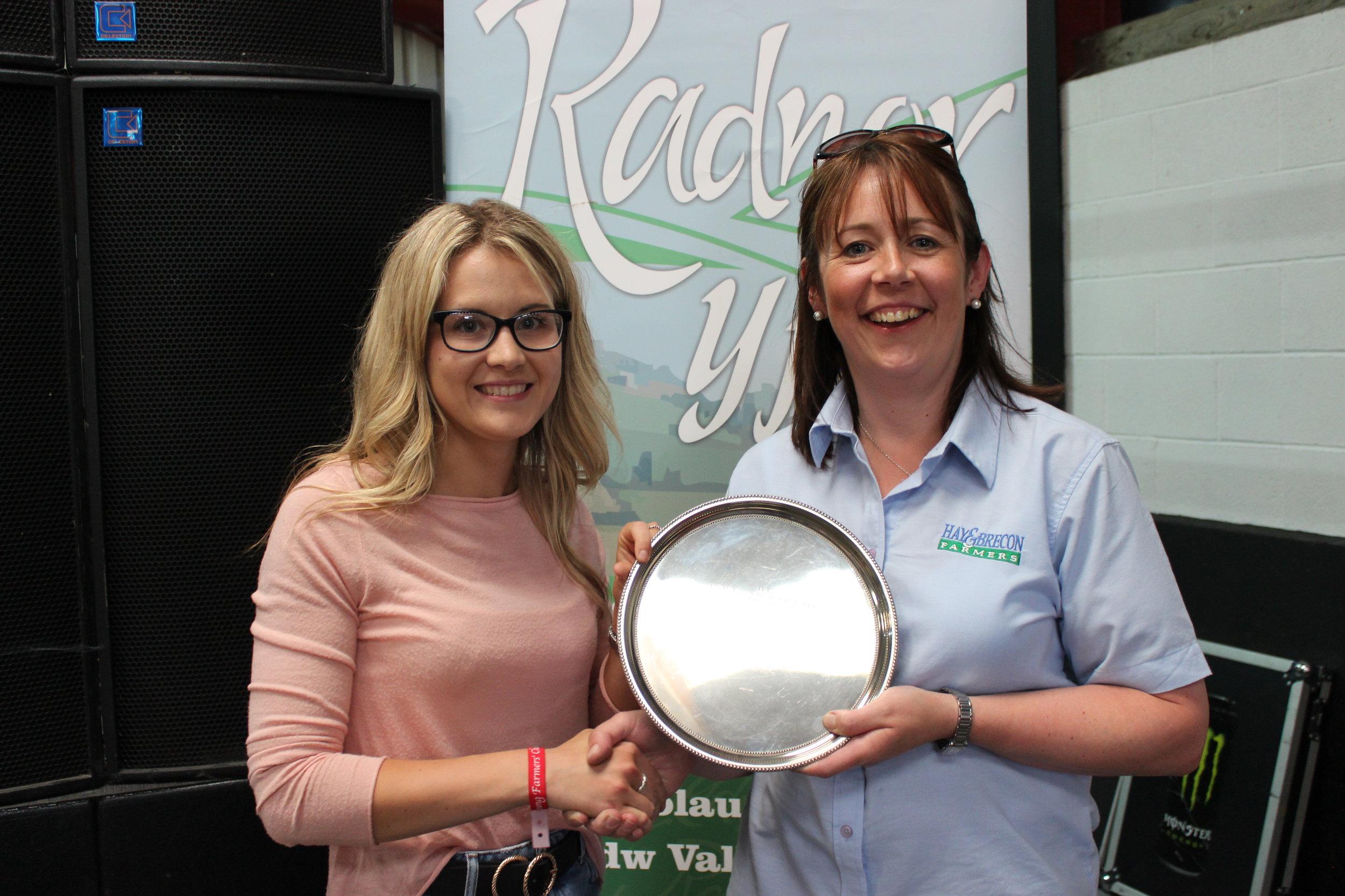 Laura Watson, Llanbadarn Fynydd YFC - Sarah Froggat Trophy / Highest mark attained by a female member in Stockjudging Competitions