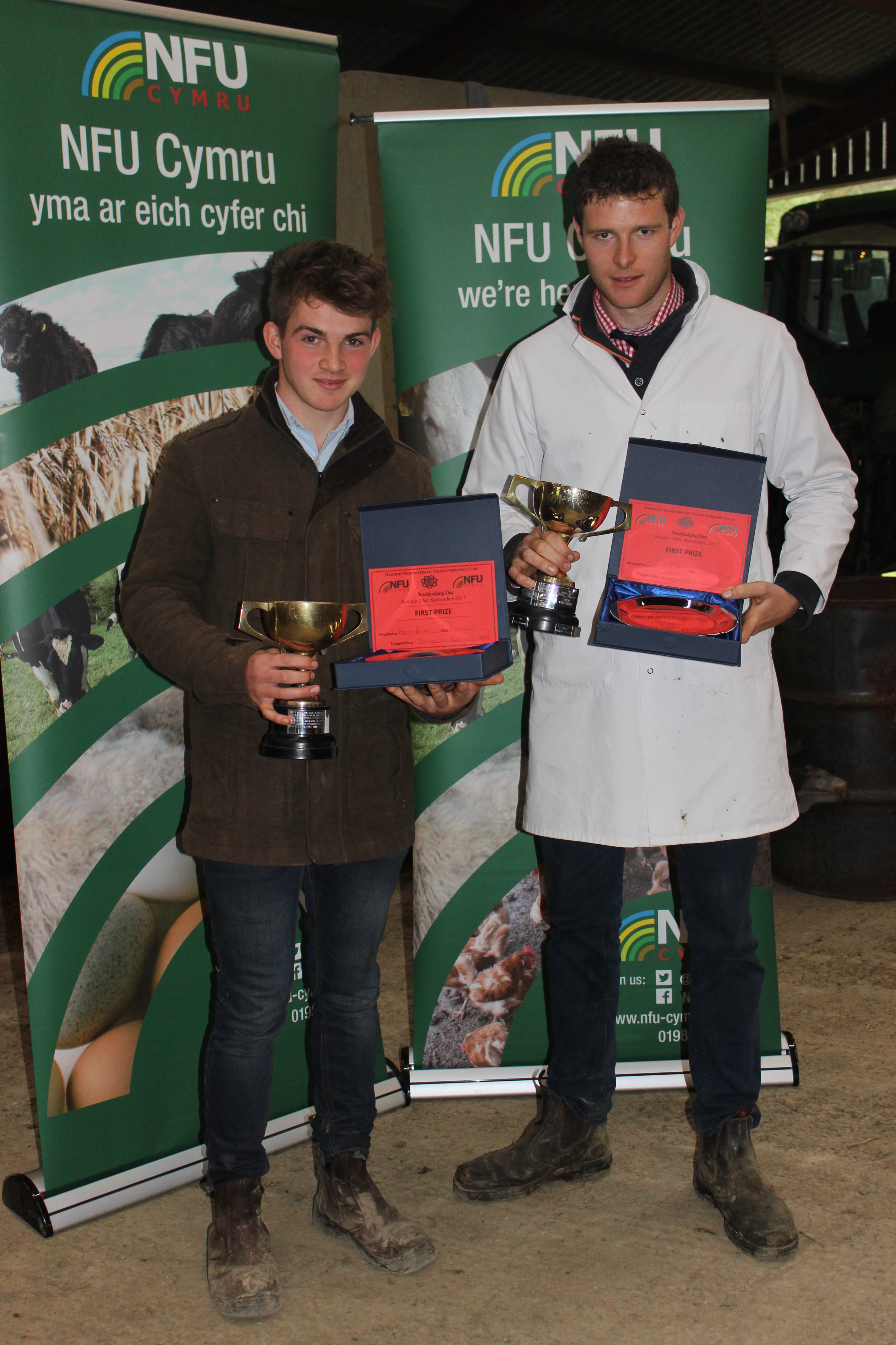 Last year's overall winner's Aeron Powell, Aberedw YFC & Edward Powell, Radnor Valley YFC.