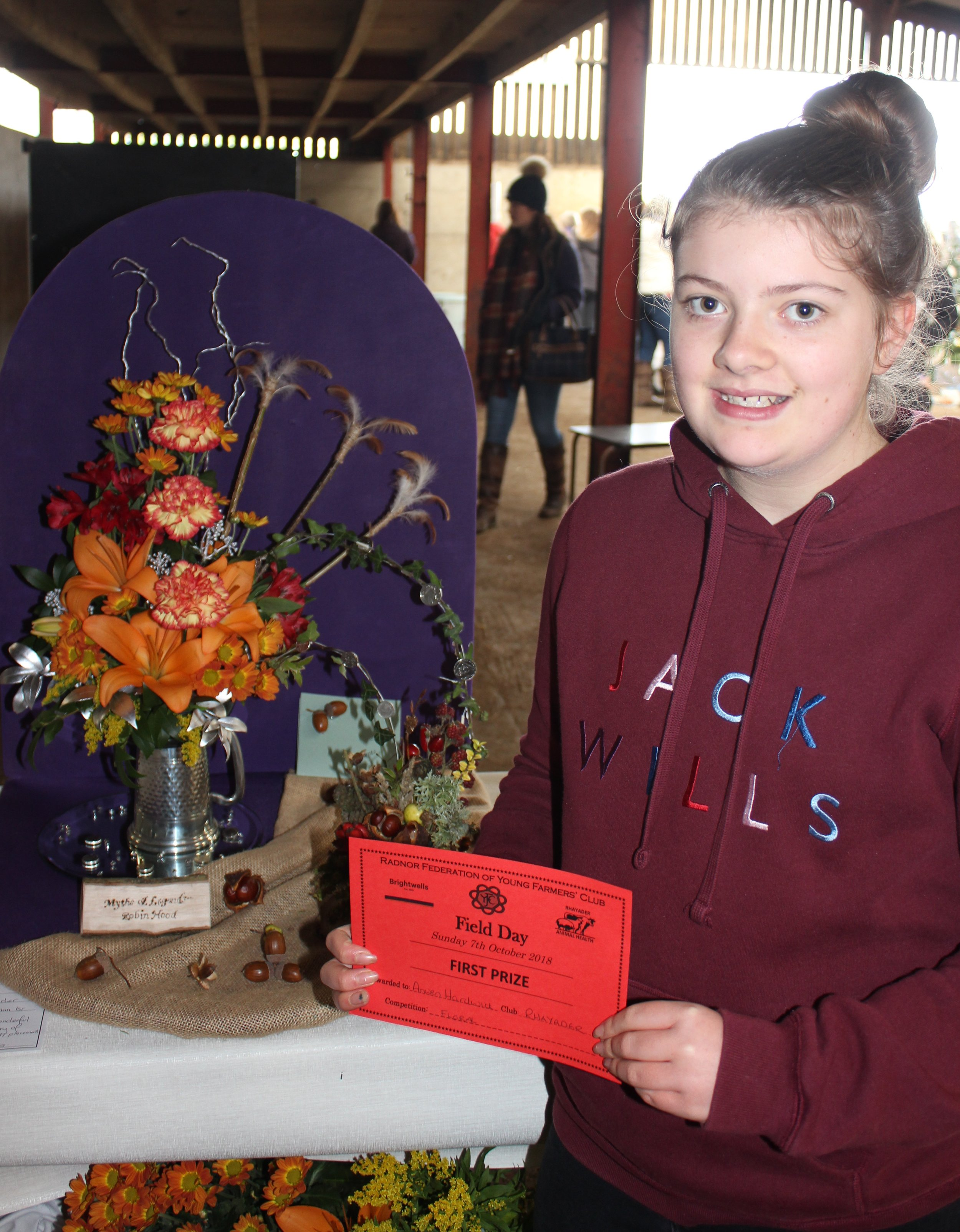 Anwen Hardwick, Rhayader YFC gaining first place in the Floral Competition