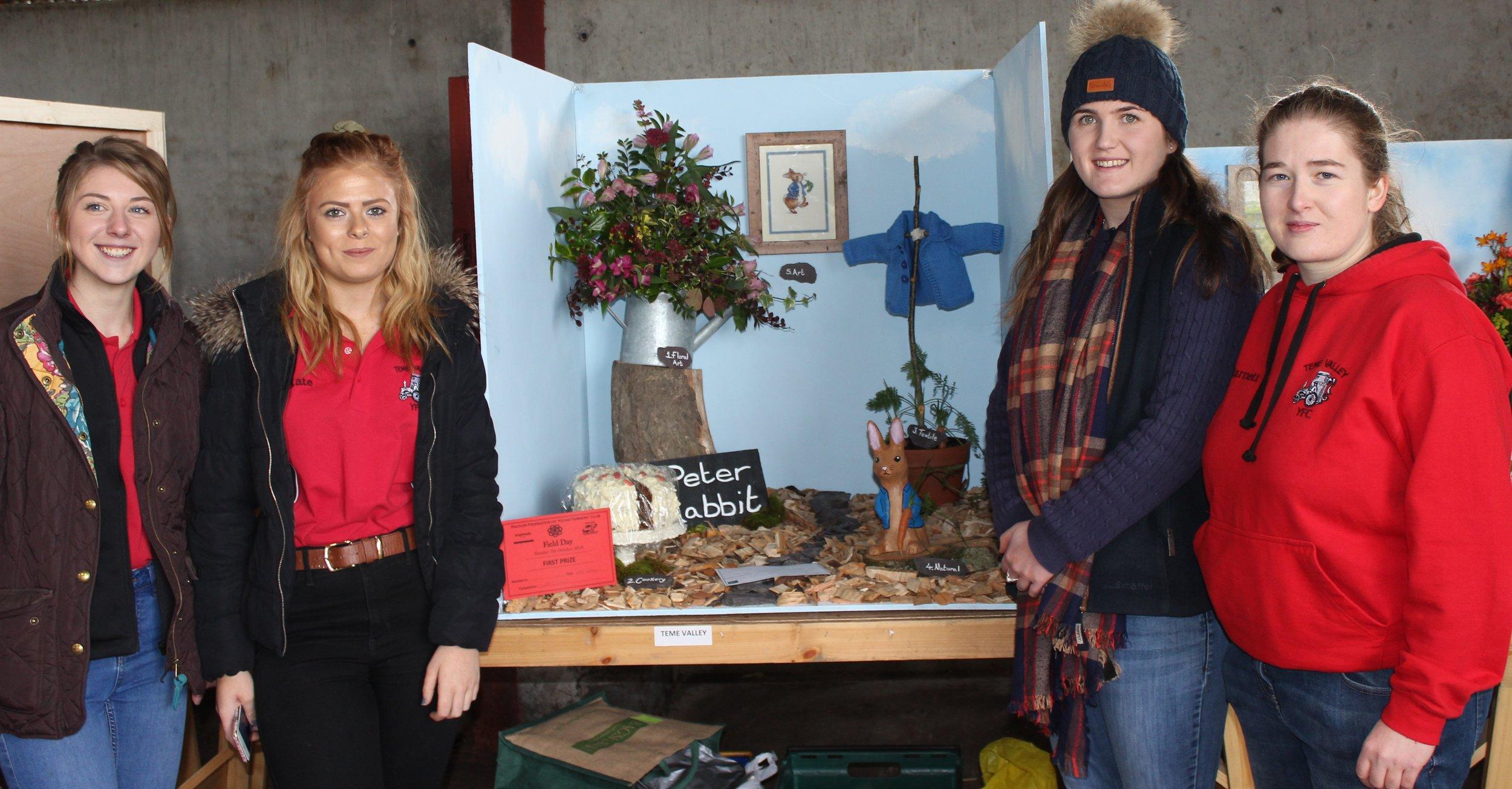 Elizabeth Swancott, Kate Reynolds, Ella Harris & Kim Barnett, Teme Valley YFC with their first prize Cube Exhibit