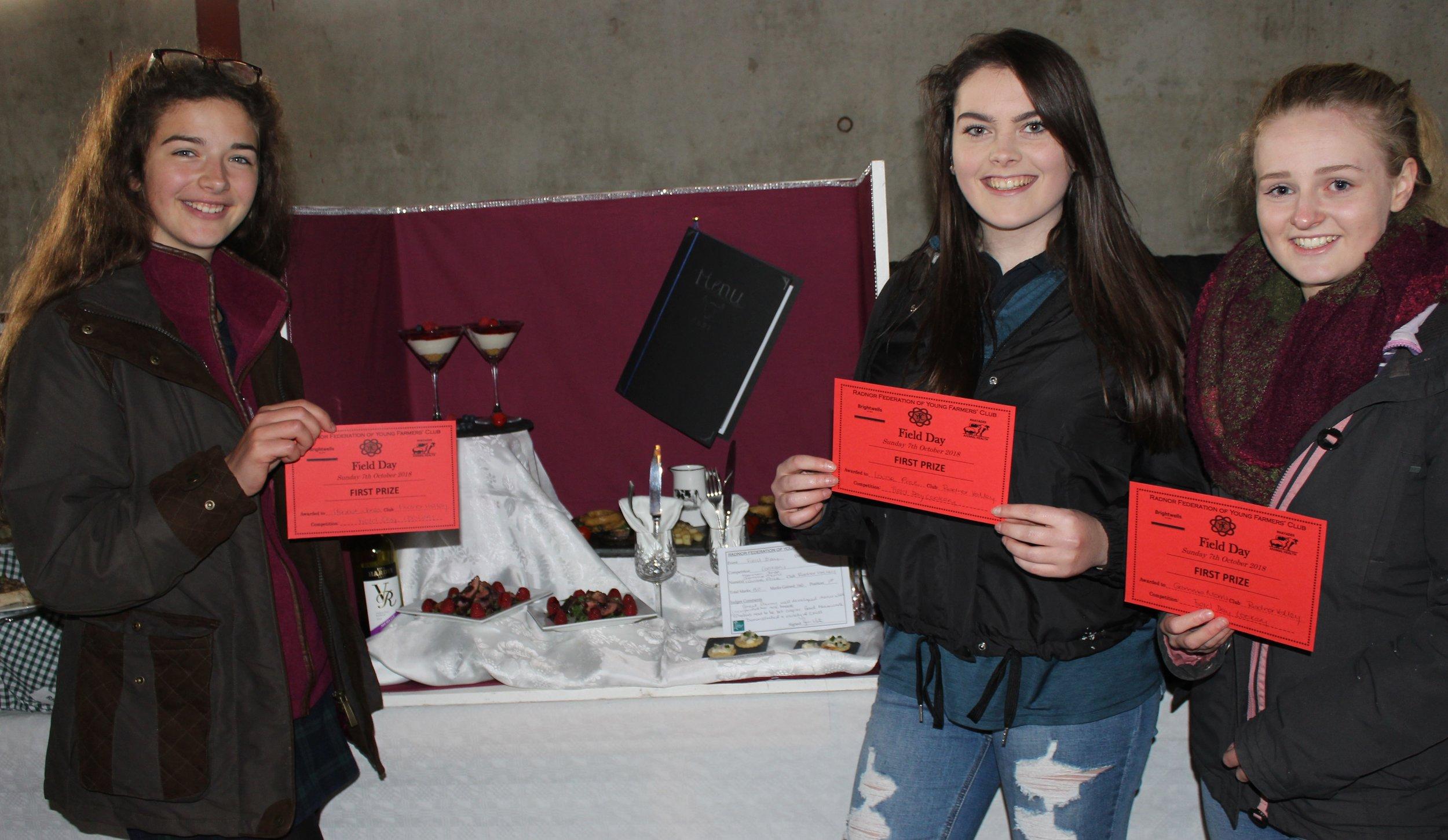 Hannah Jones, Louise Price & Gemma Morris, Radnor Valley YFC winning the Cookery competition