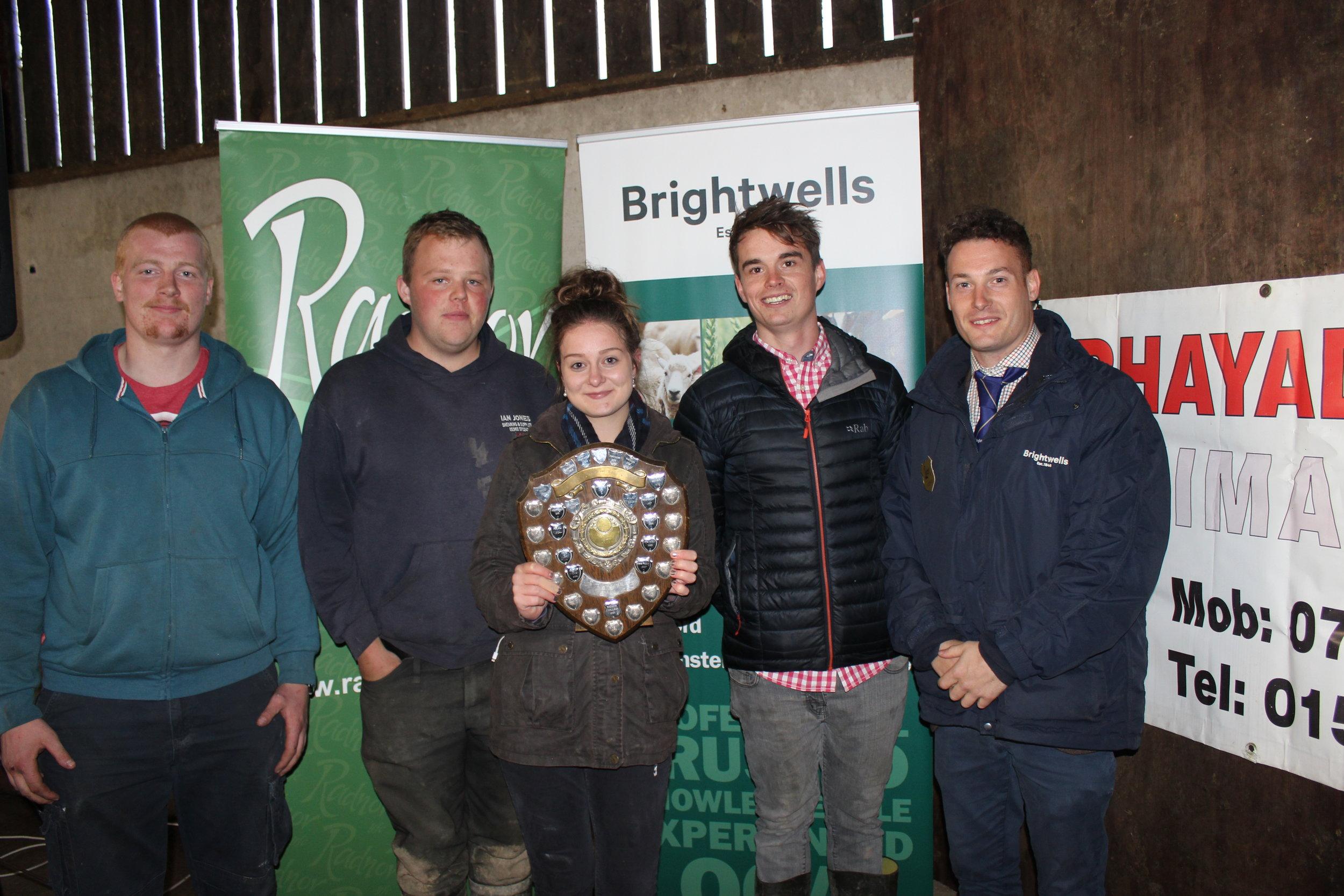 Hugh Price, Sam Bowen, Sally Morris & Edward Hamer, Radnor Valley YFC - Penybont YFC Shield (Farm Safety Skills), being presented by Matt Williams, Brightwells