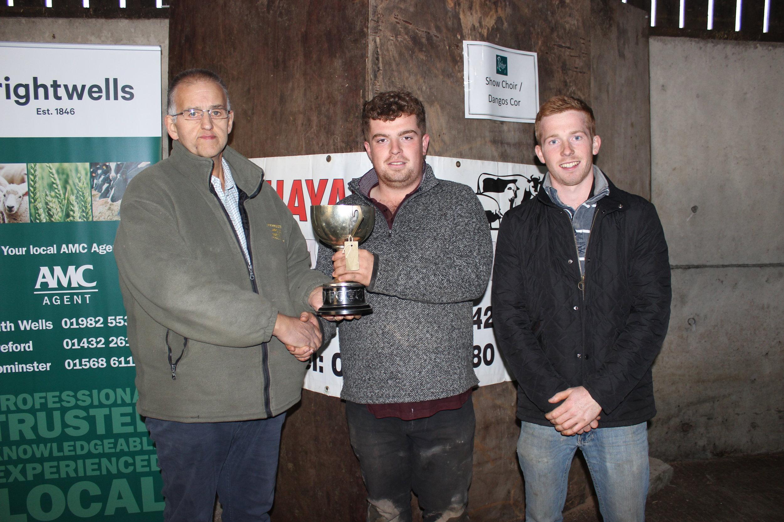 Jack Mason & Lloyd Hammond, Howey YFC - Hundred House Cup (ATV) being presented by Haydn Evans, Rhayader Animal Health