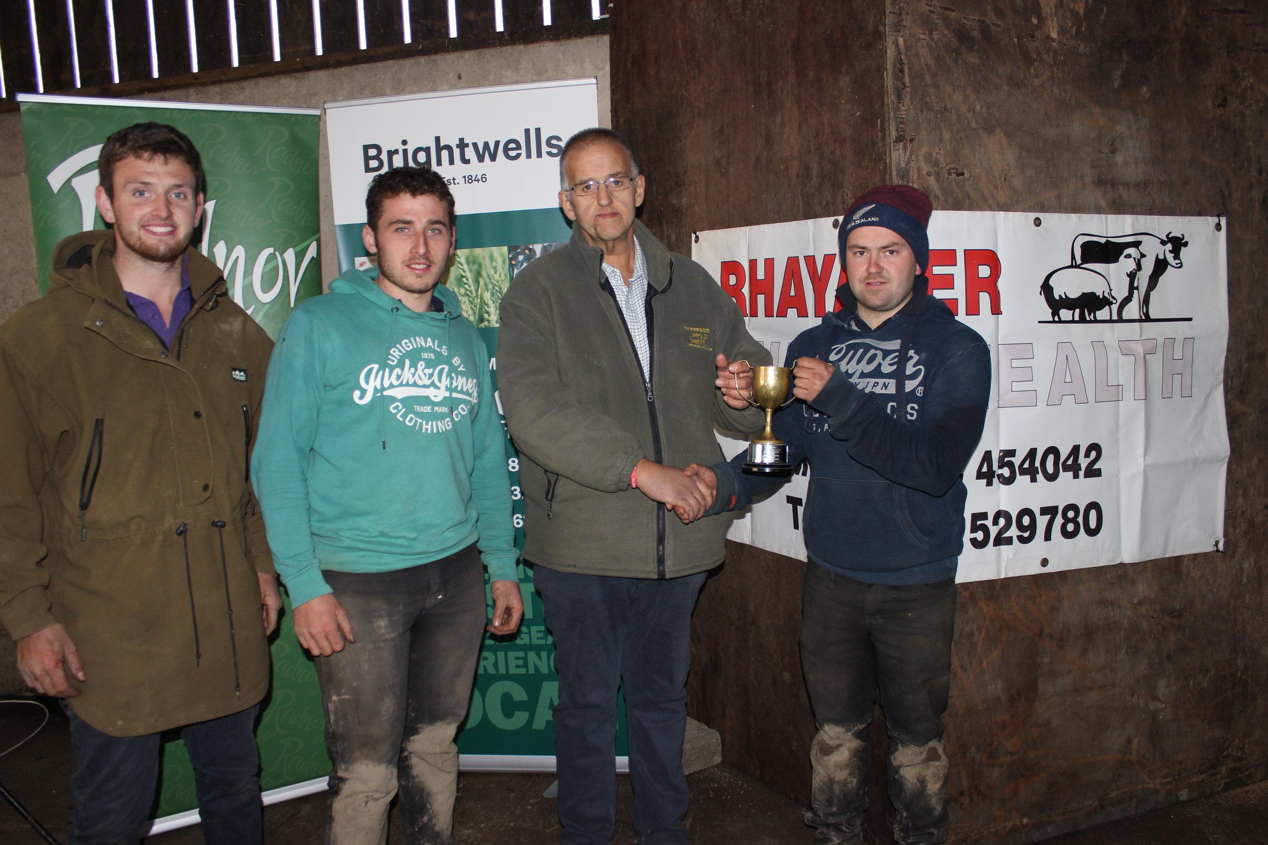 James Nixon, Alwyn Watkins & Rowan Wilson, Rhayader YFC - Llanbadarn Fynydd Challenge Cup (Senior & Junior Fencing) being presented by Haydn Evans, Rhayader Animal Health