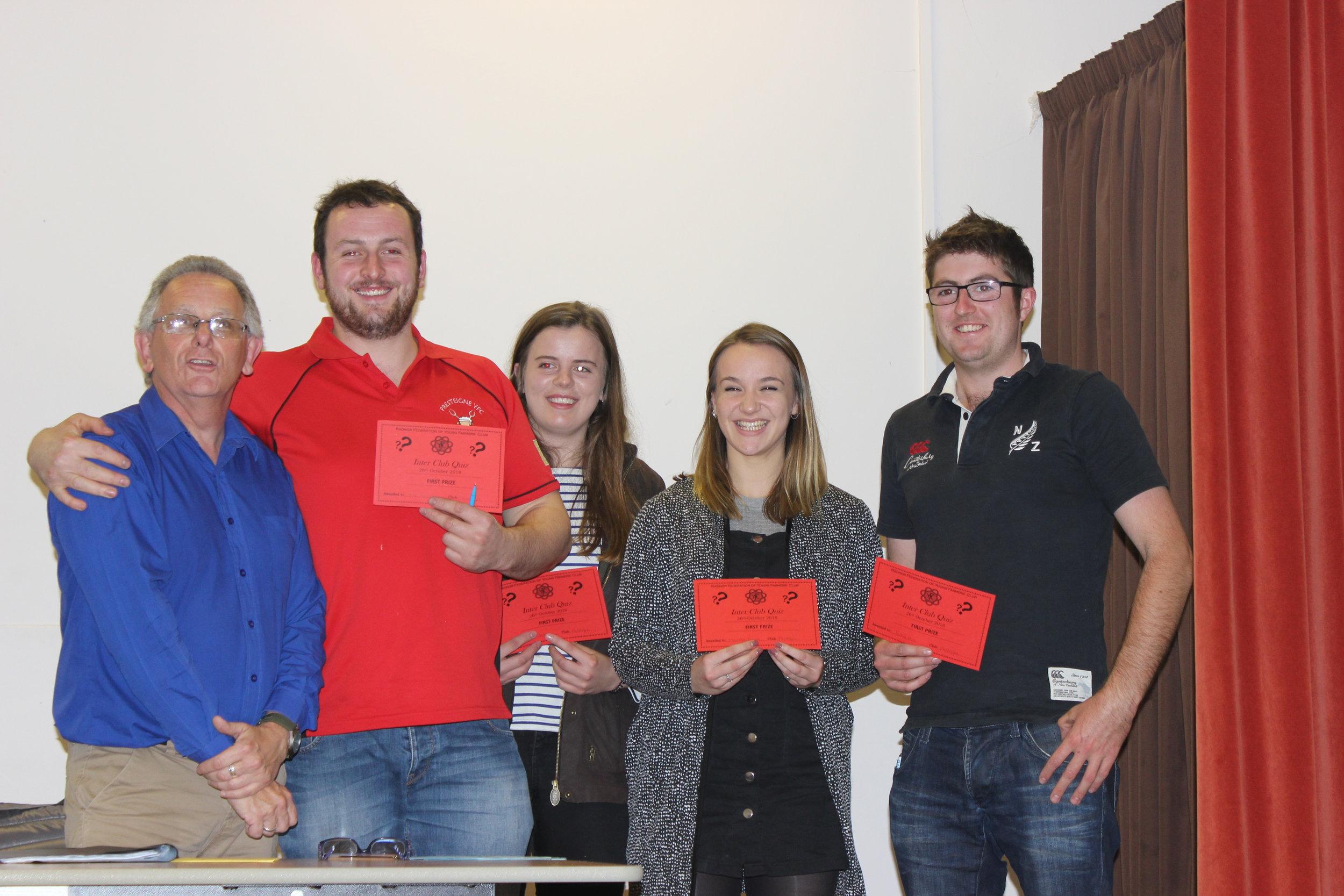 Inter Club Quiz winners Presteigne YFC with Quiz Master Michael Powell, (Ted Davies, Elizabeth Preston, Martha Bowen & Jamie Price)