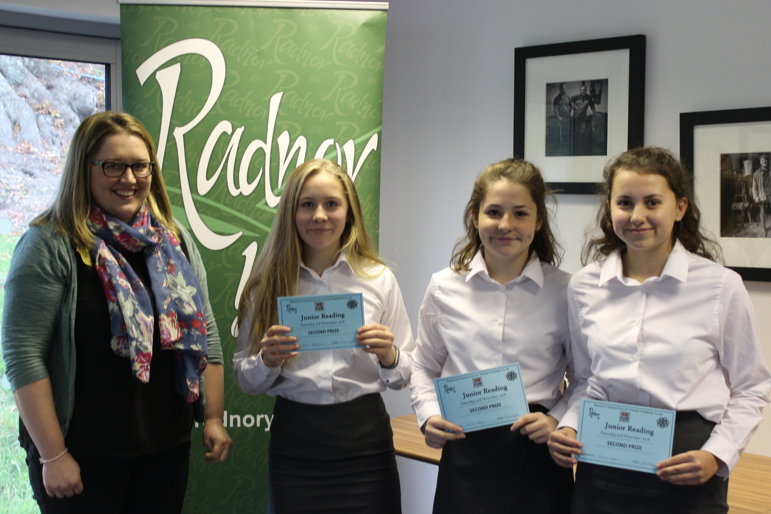 2nd Place in the Junior Reading Competition, Presteigne YFC with Judge Emily Bevan