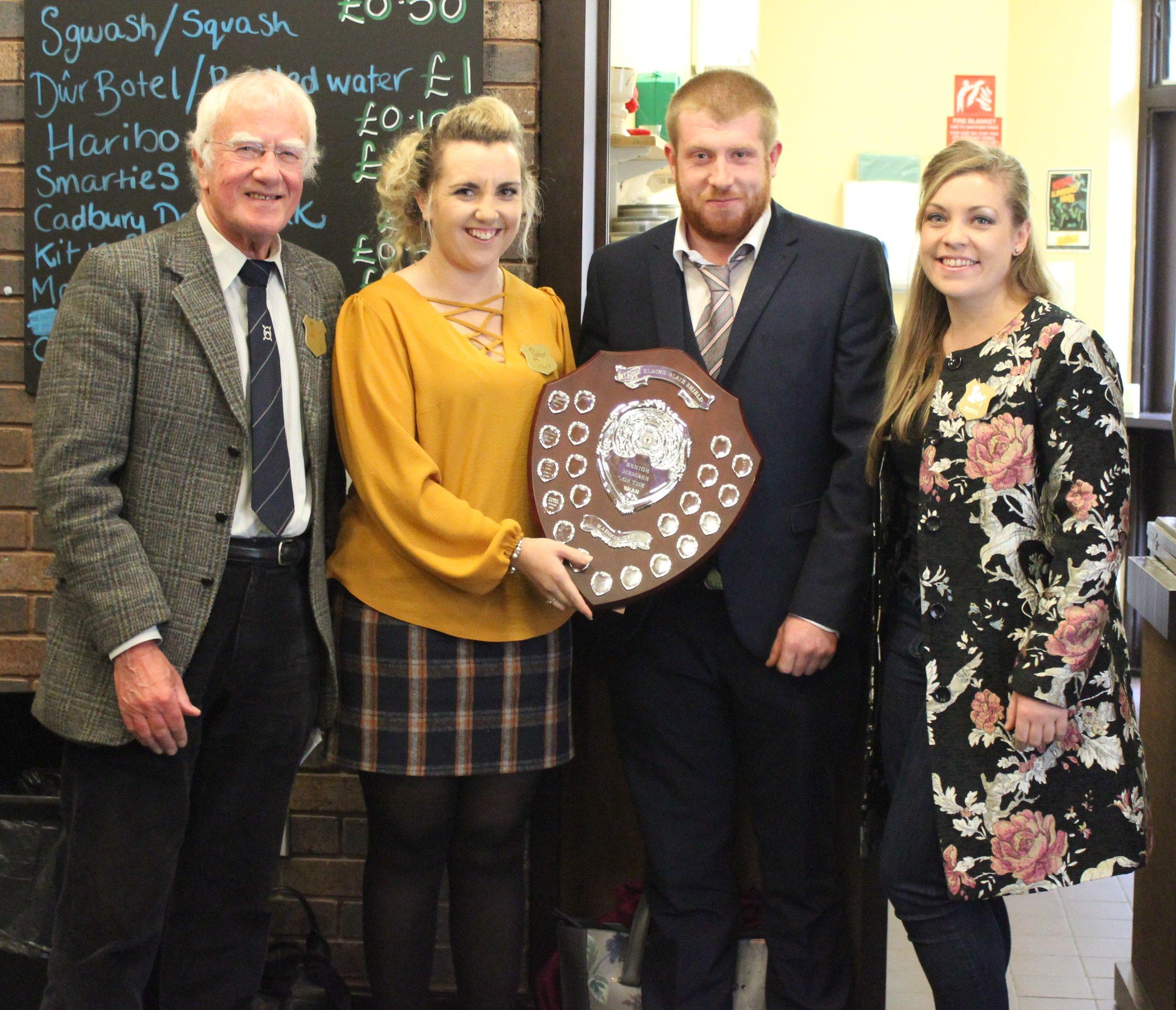 John James, Howey YFC winning Senior Member of the Year with Judges Ian Blair, Lisa Legge & Delyth Robinson.