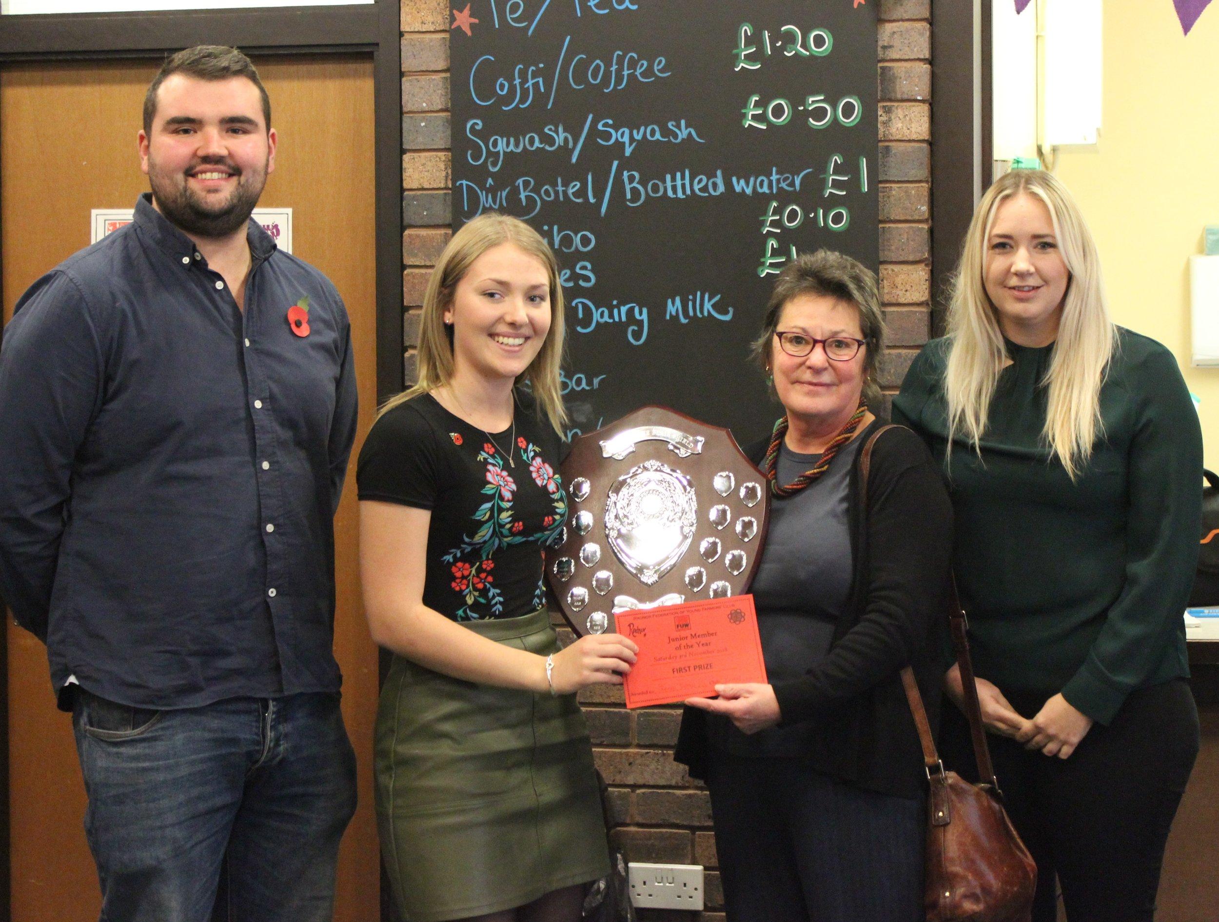 Joanna Thomas, Cantal YFC winning Junior Member of the Year with Judges Huw Jones, Elaine Blair & Gemma Bufton.