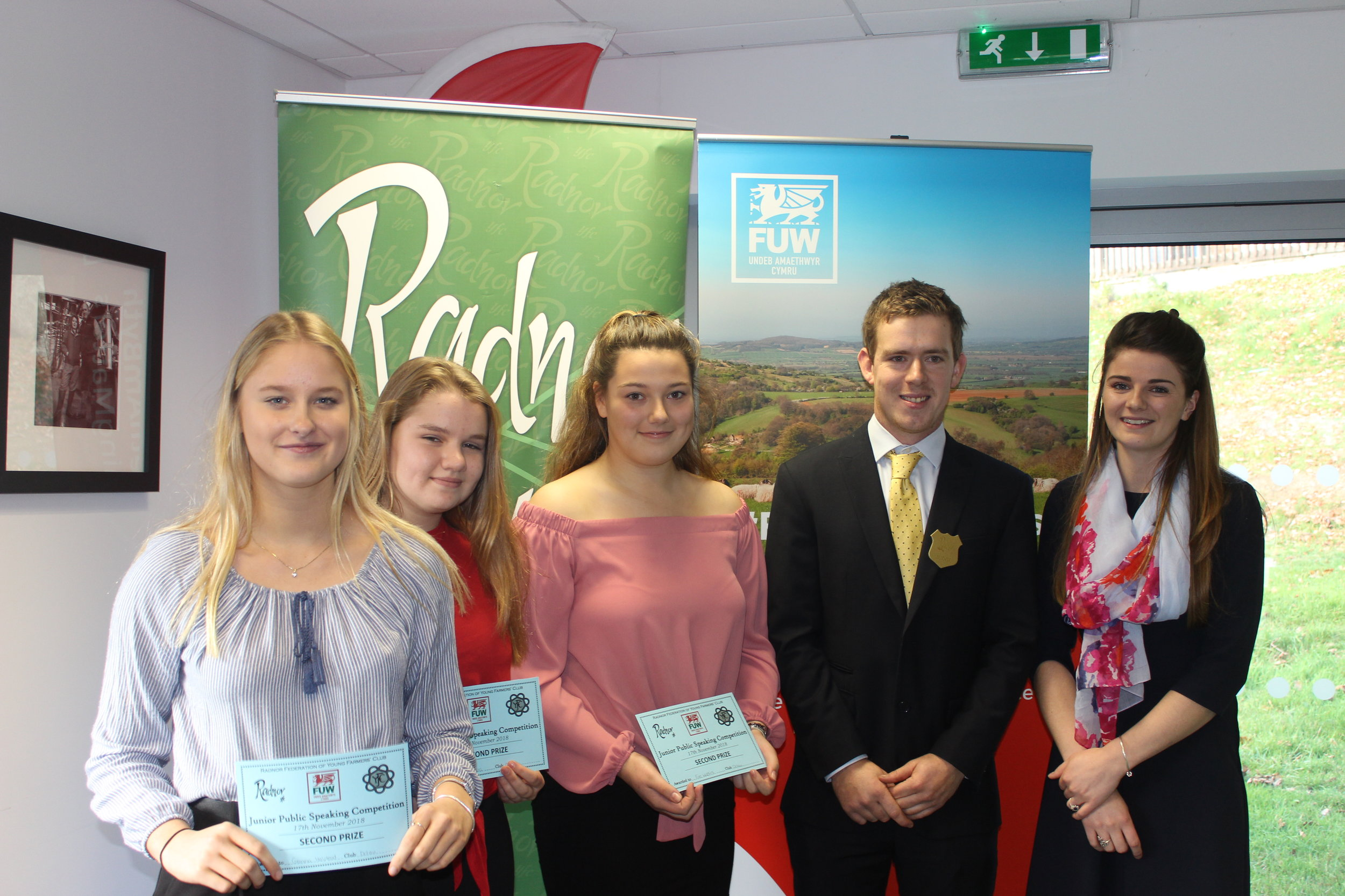 Emily Davies, Eve Watkins & Gemma Halstead, Dolau YFC with their 2nd place certificates with judges Owen Morris & Lucy Bright.