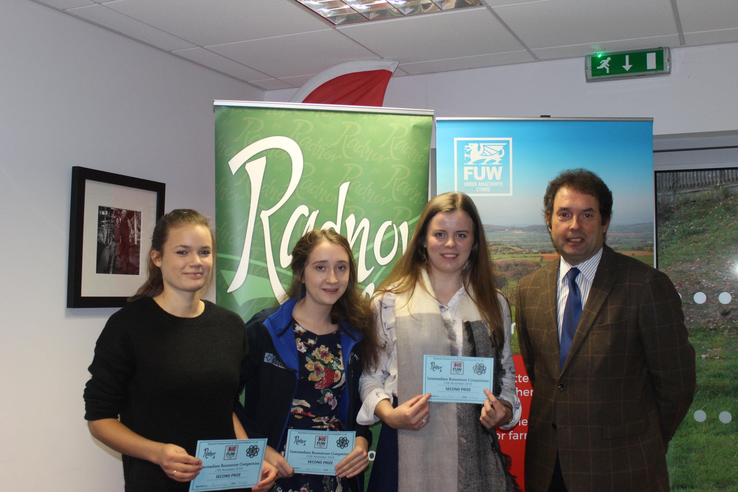 Mollie Hooper, Sally Griffiths & Elizabeth Preston, Presteigne YFC with judge Alan Gardner gaining 2nd place in the Intermediate Brainstrust.