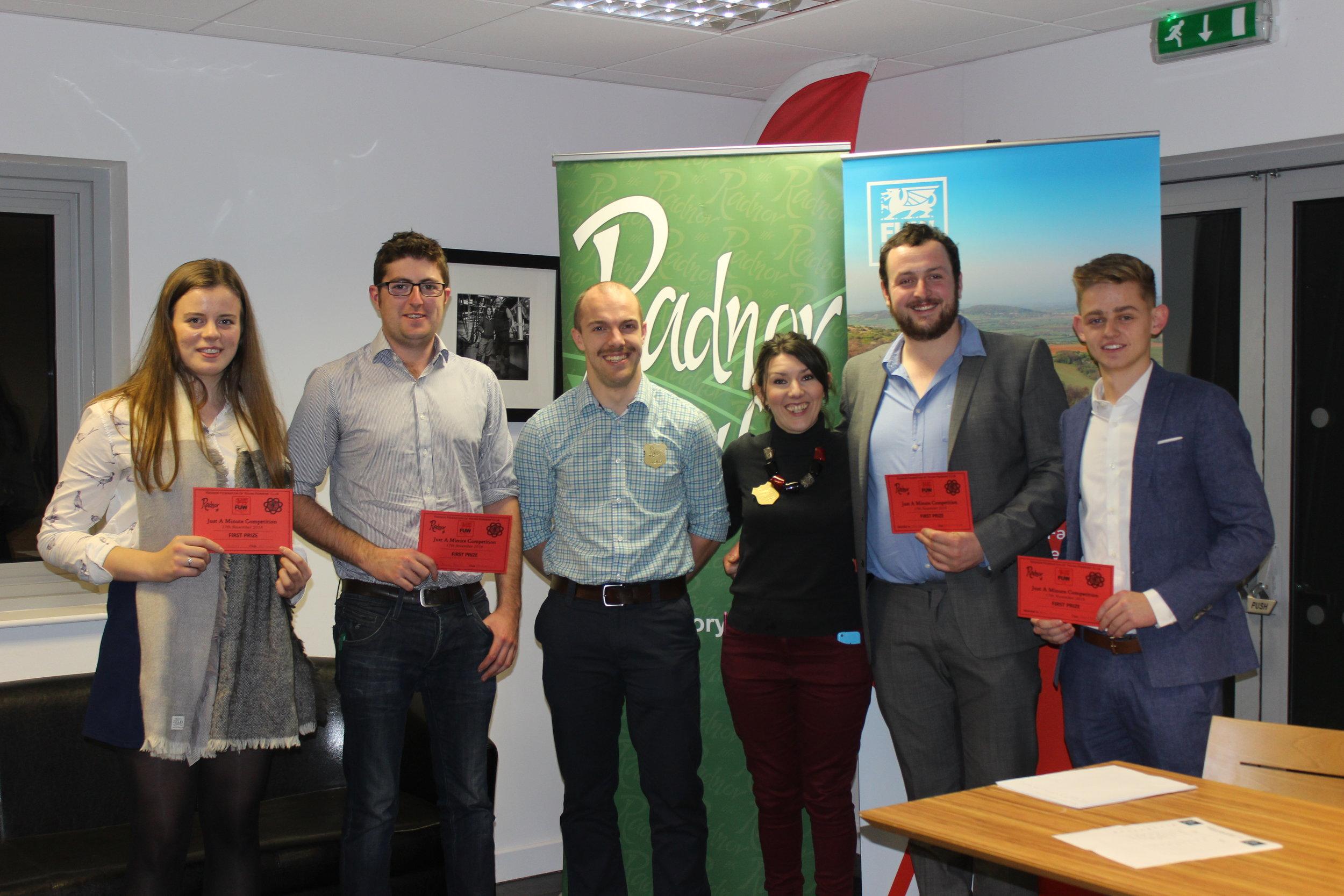 Elizabeth Preston, Jamie Price, Ted Davies & Ben Chilman, Presteigne YFC winning the Just A Minute competition with judges Mark Davies & Katie Davies.