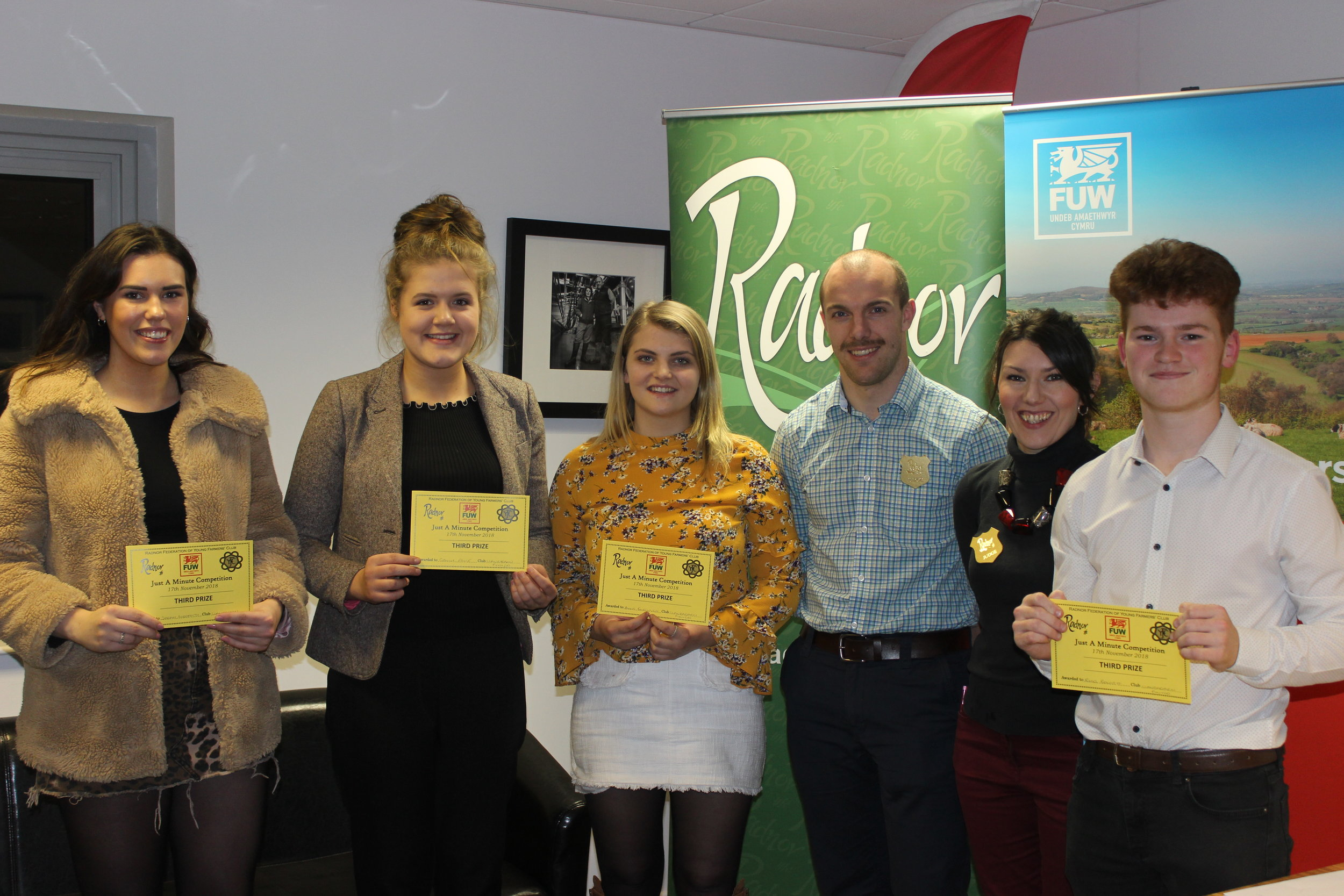 Sarah Meredith, Gemma Price, Annie Fairclough & Rhys Bennett gaining 3rd place in the Just A Minute competition with judges Mark Davies & Katie Davies.