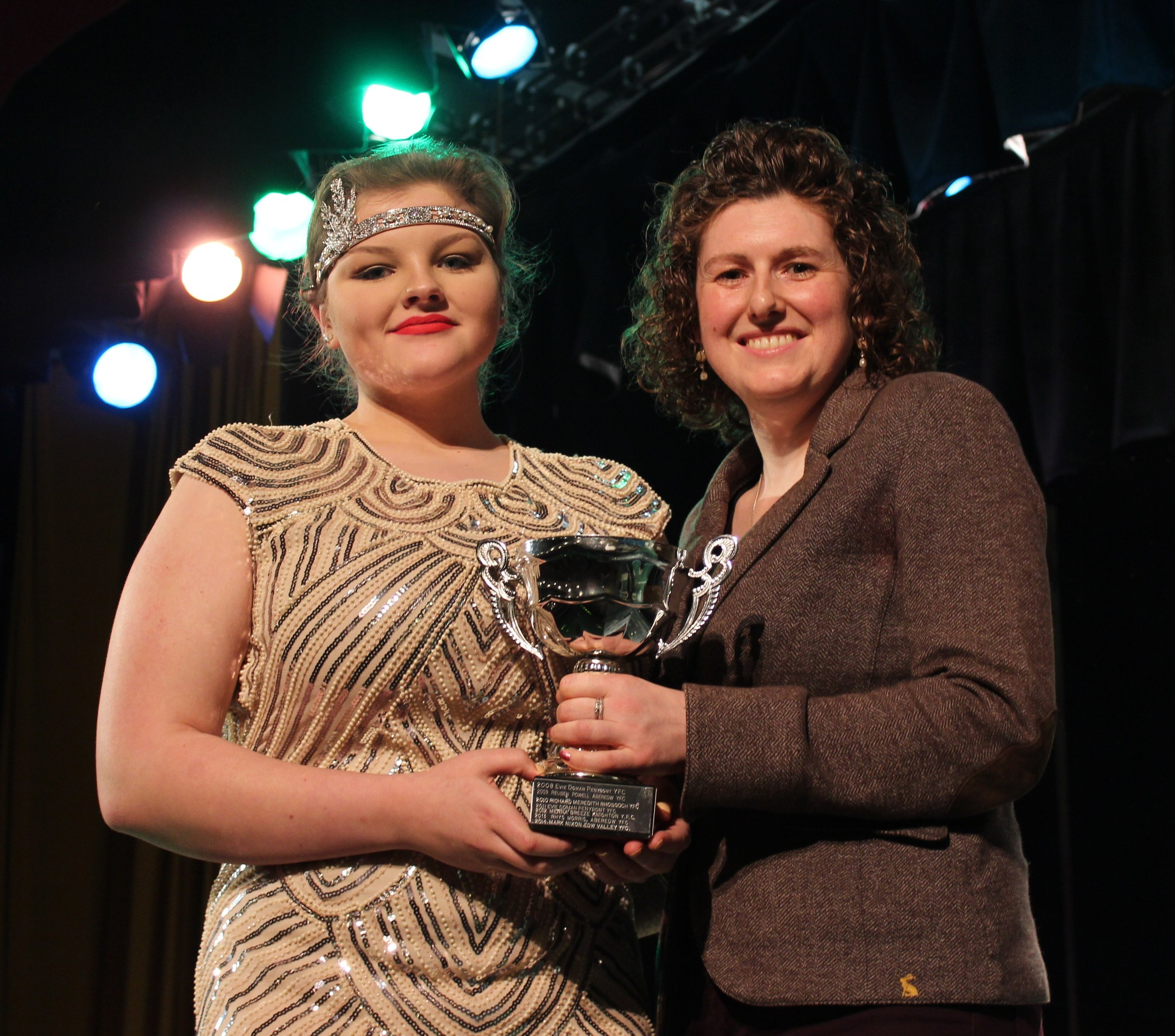 Chloe Lewis, Teme Valley YFC with Barclays representative Avril Hardwick - Clair & Toby Powell Trophy for Best Individual in the One Plus Competition