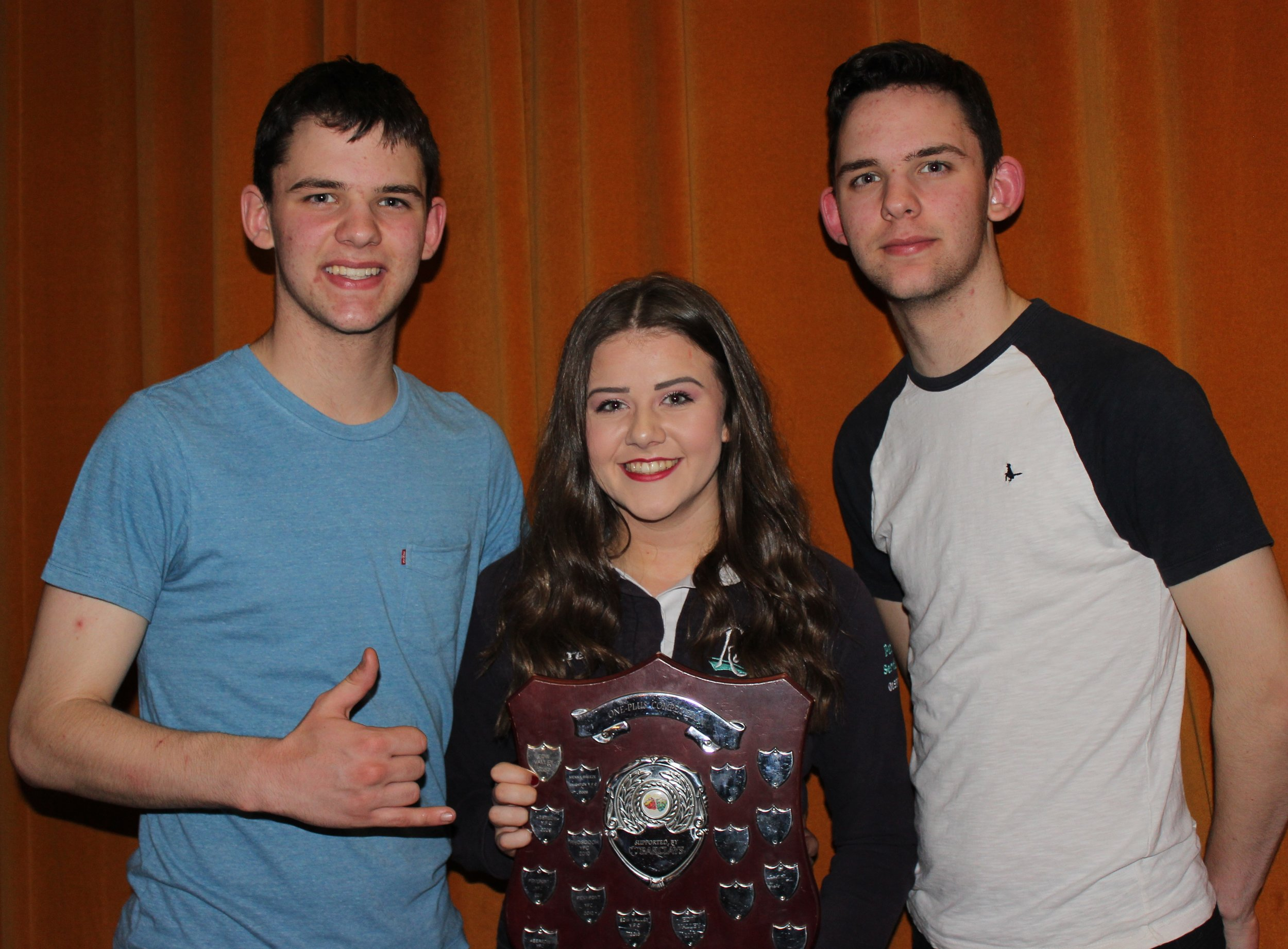 James Powell, Lauren Bradford & James Powell, Penybont YFC with the Barclays Bank Shield for the One Plus Competition.