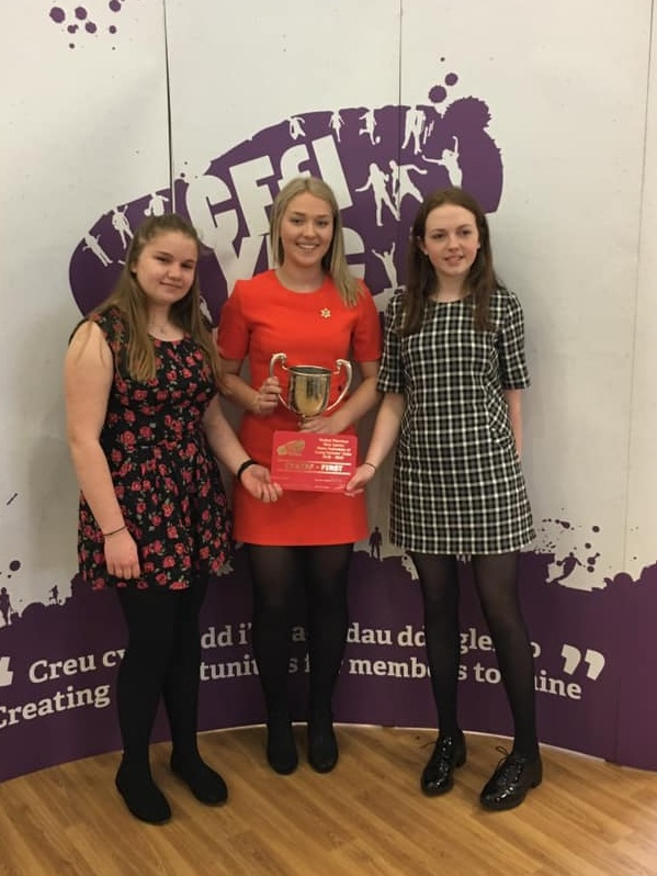 Emily Davies, Joanna Thomas & Becky Duggan winning the Junior Public Speaking competition.