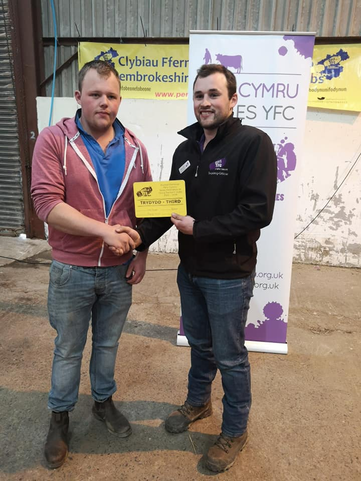 Sam Bowen, Radnor Valley YFC, 3rd place in the Sheepdog Trials.