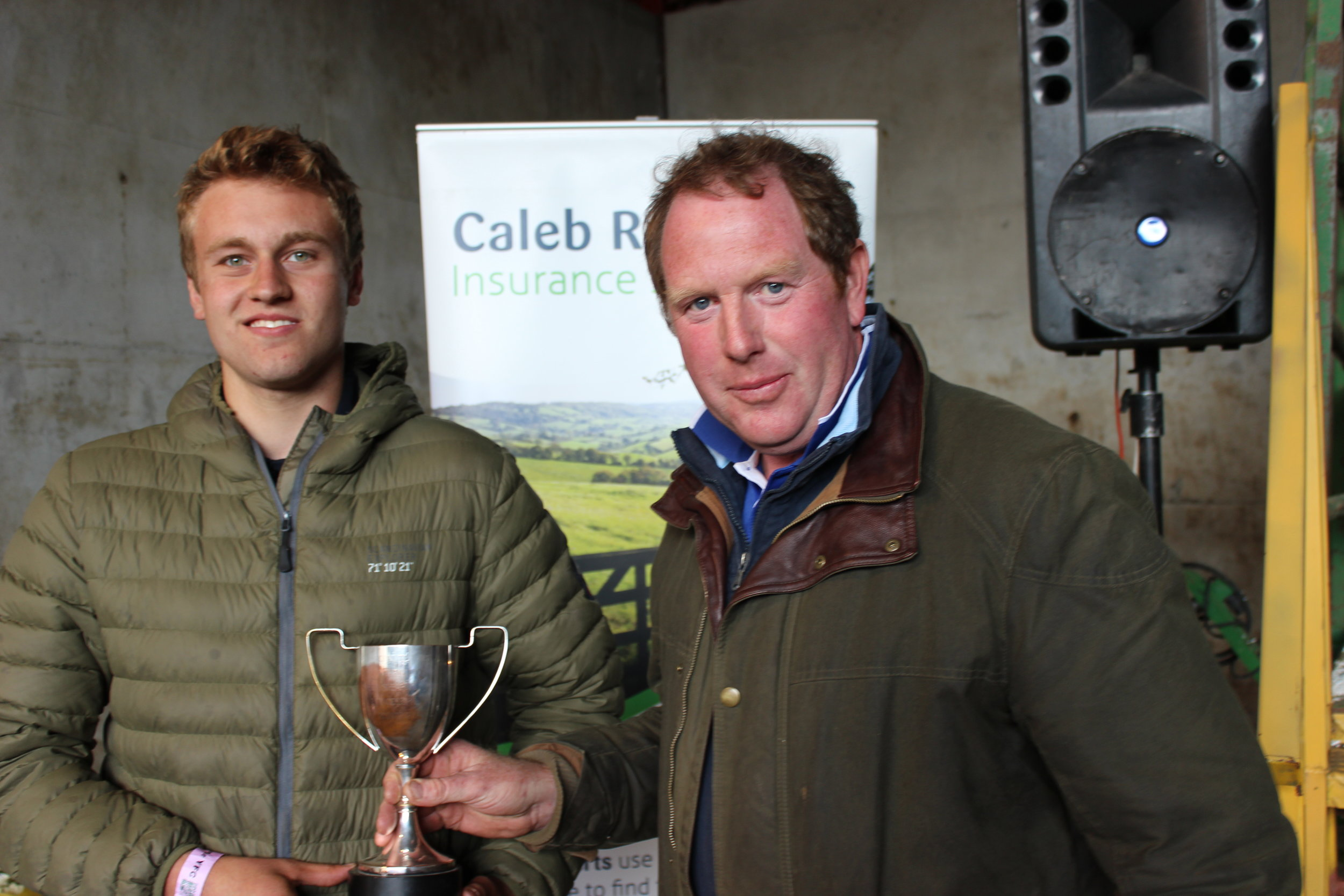 Philip Price, Radnor Valley YFC - Mr J Davies Cup for Intermediate Shearing being presented by Rally Host, David Price.