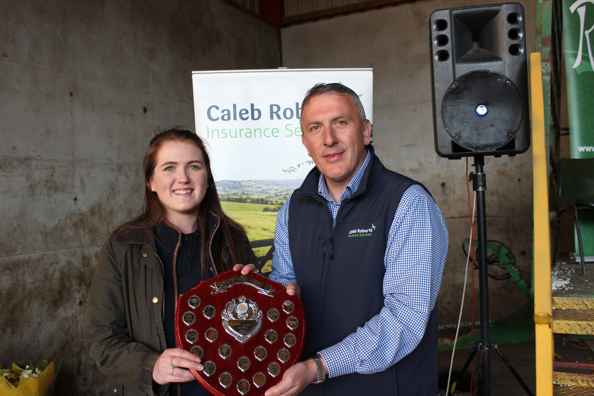 Ella Harris, Teme Valley YFC - Rachel Bufton Memorial Shield for the Floral competitions being presented by Hugh Campbell, Caleb Roberts.
