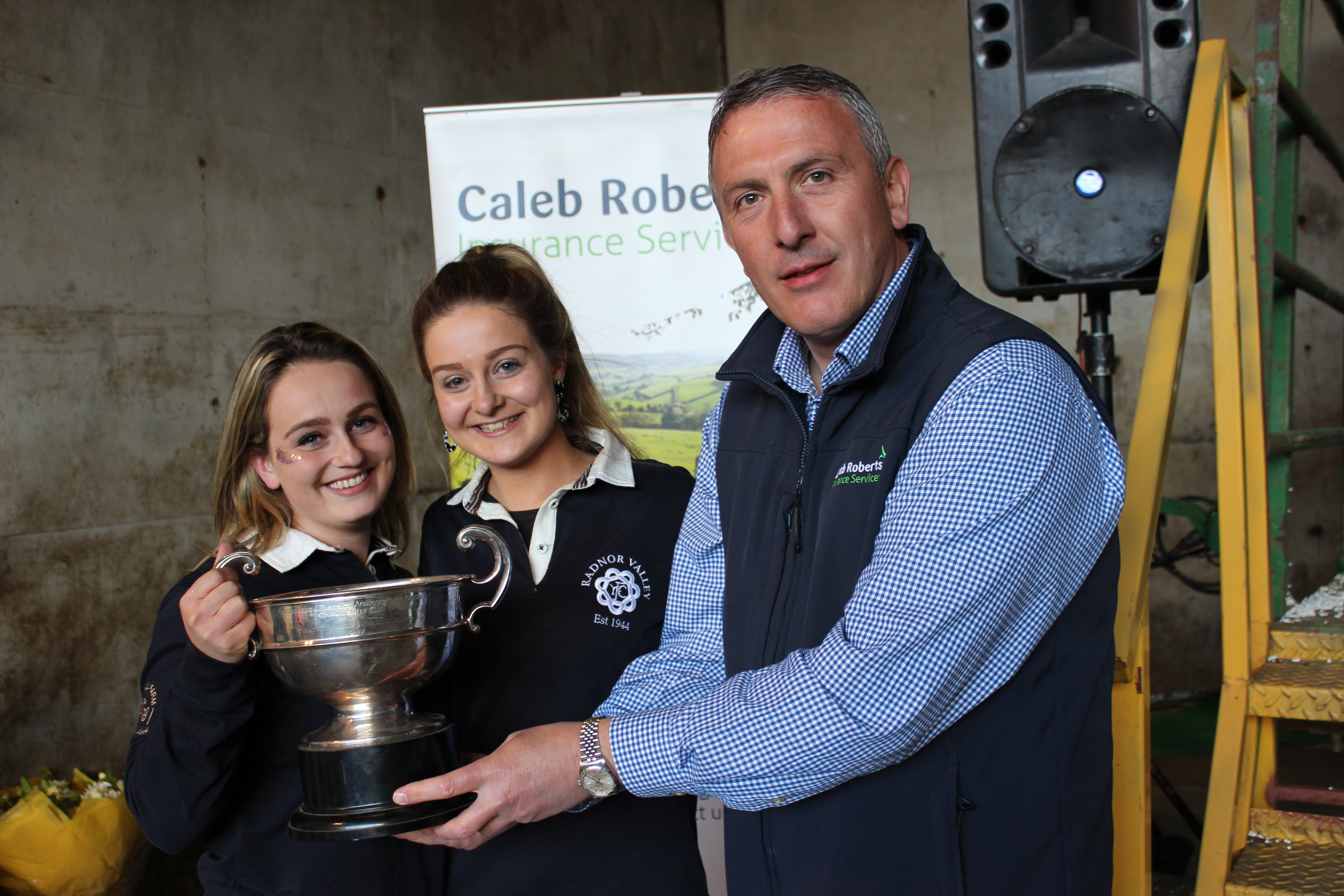 Lauren Morris & Sally Morris, Radnor Valley YFC - Presteigne Agricultural Cup for second place being presented by Hugh Campbell, Caleb Roberts.
